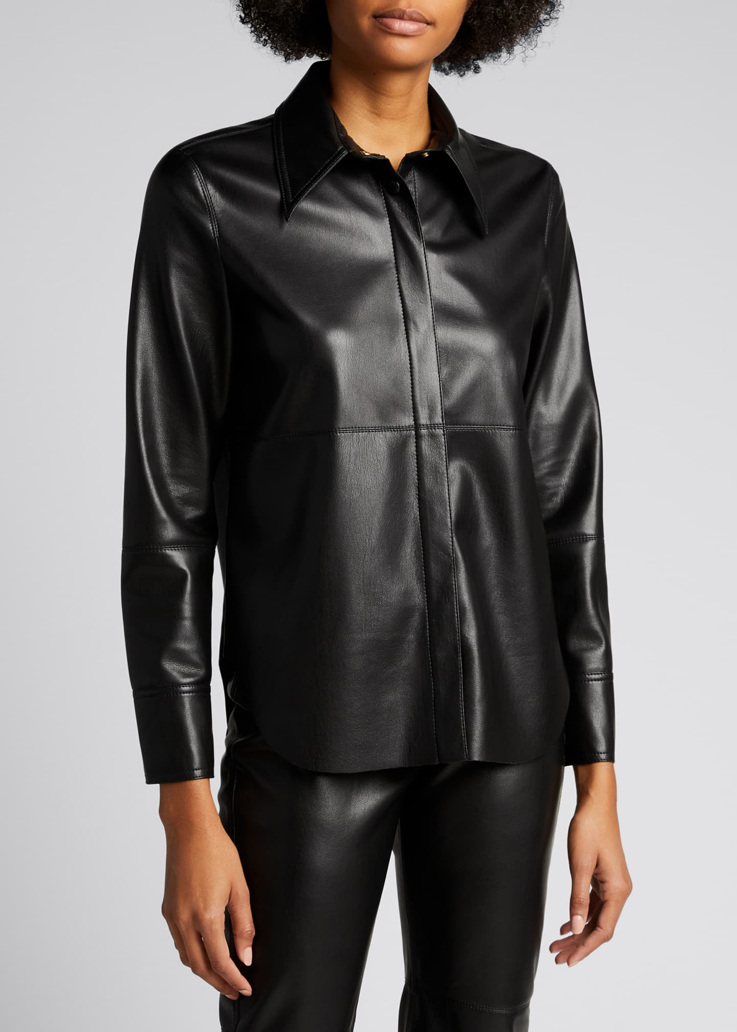 Image 3 of 4: Naum Faux-Leather Long-Sleeve Shirt