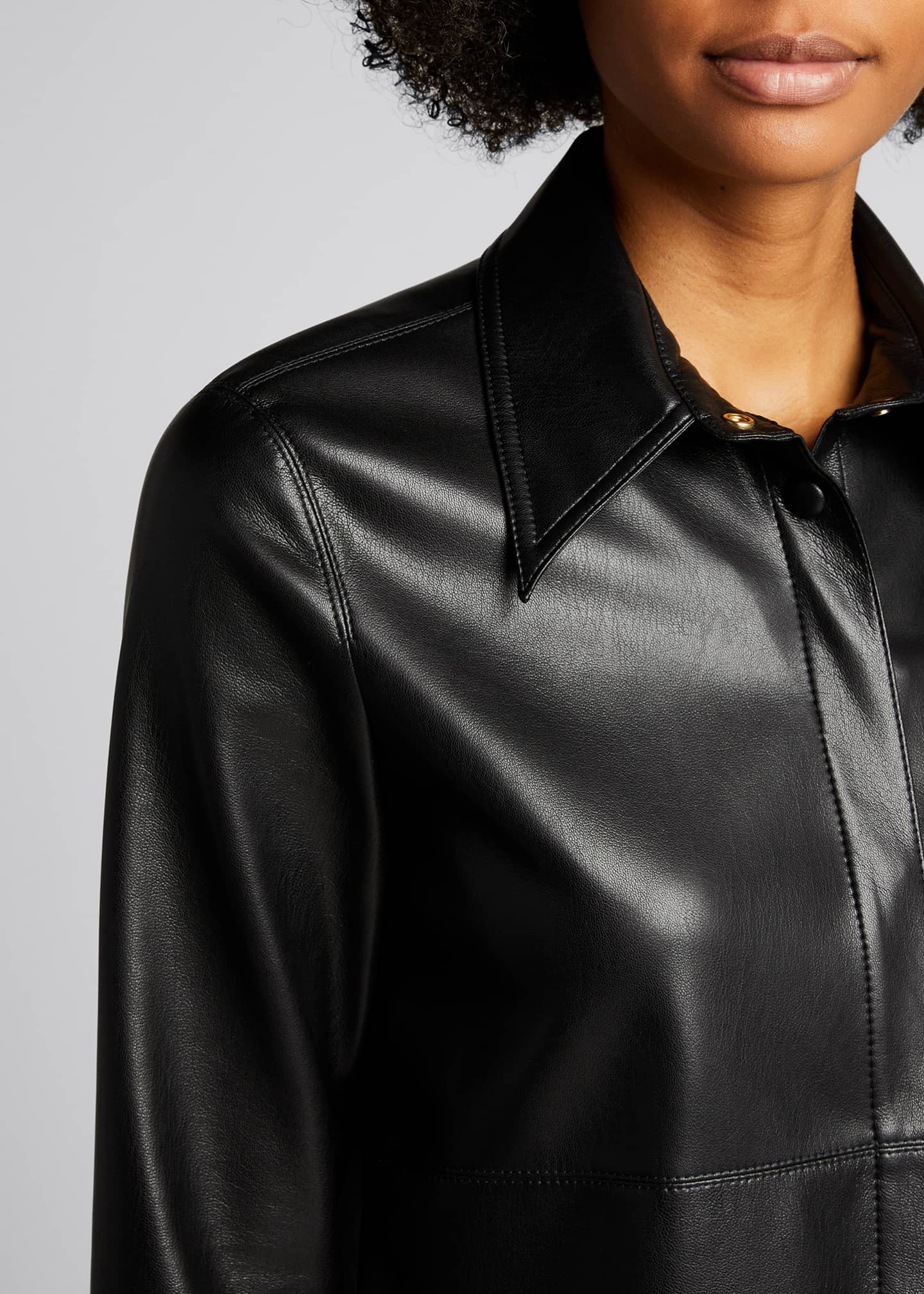 Image 4 of 4: Naum Faux-Leather Long-Sleeve Shirt