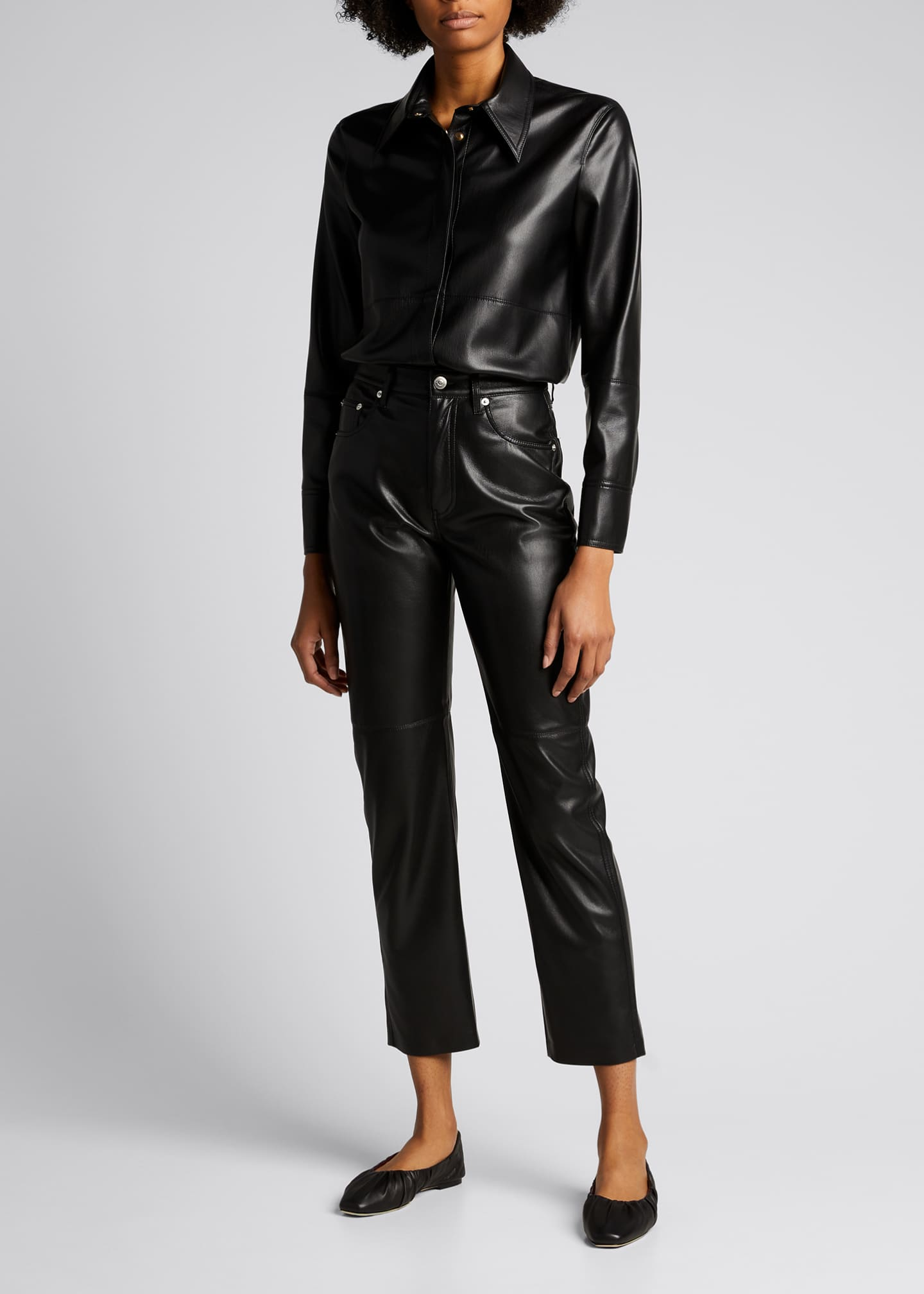 Image 1 of 4: Naum Faux-Leather Long-Sleeve Shirt