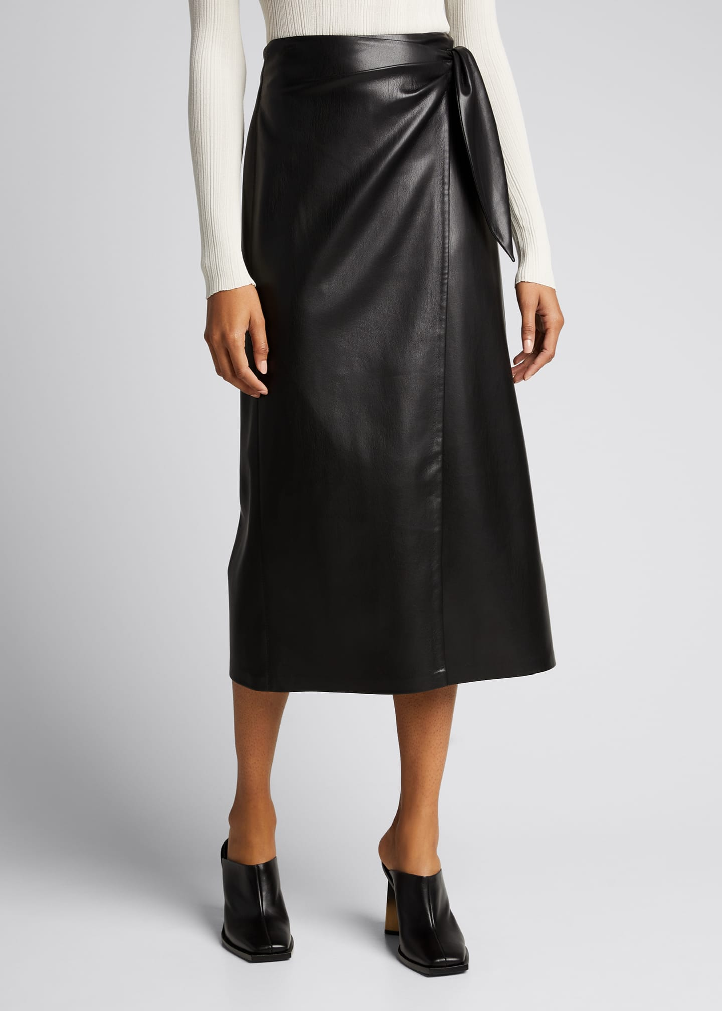 Image 3 of 4: Amas Faux-Leather Wrap Skirt