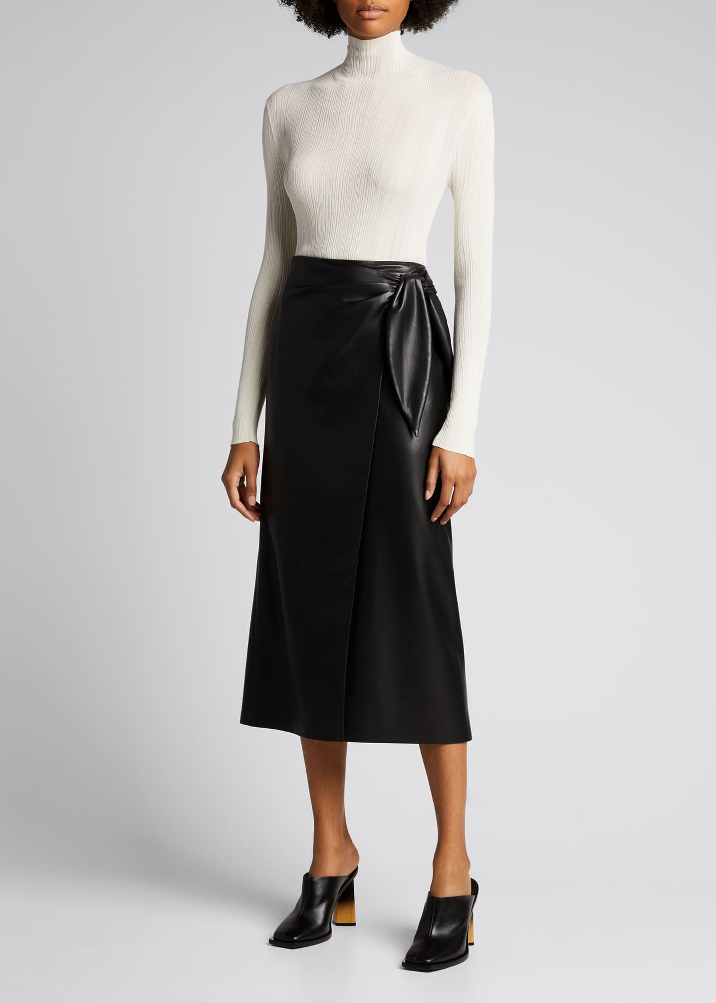 Image 1 of 4: Amas Faux-Leather Wrap Skirt