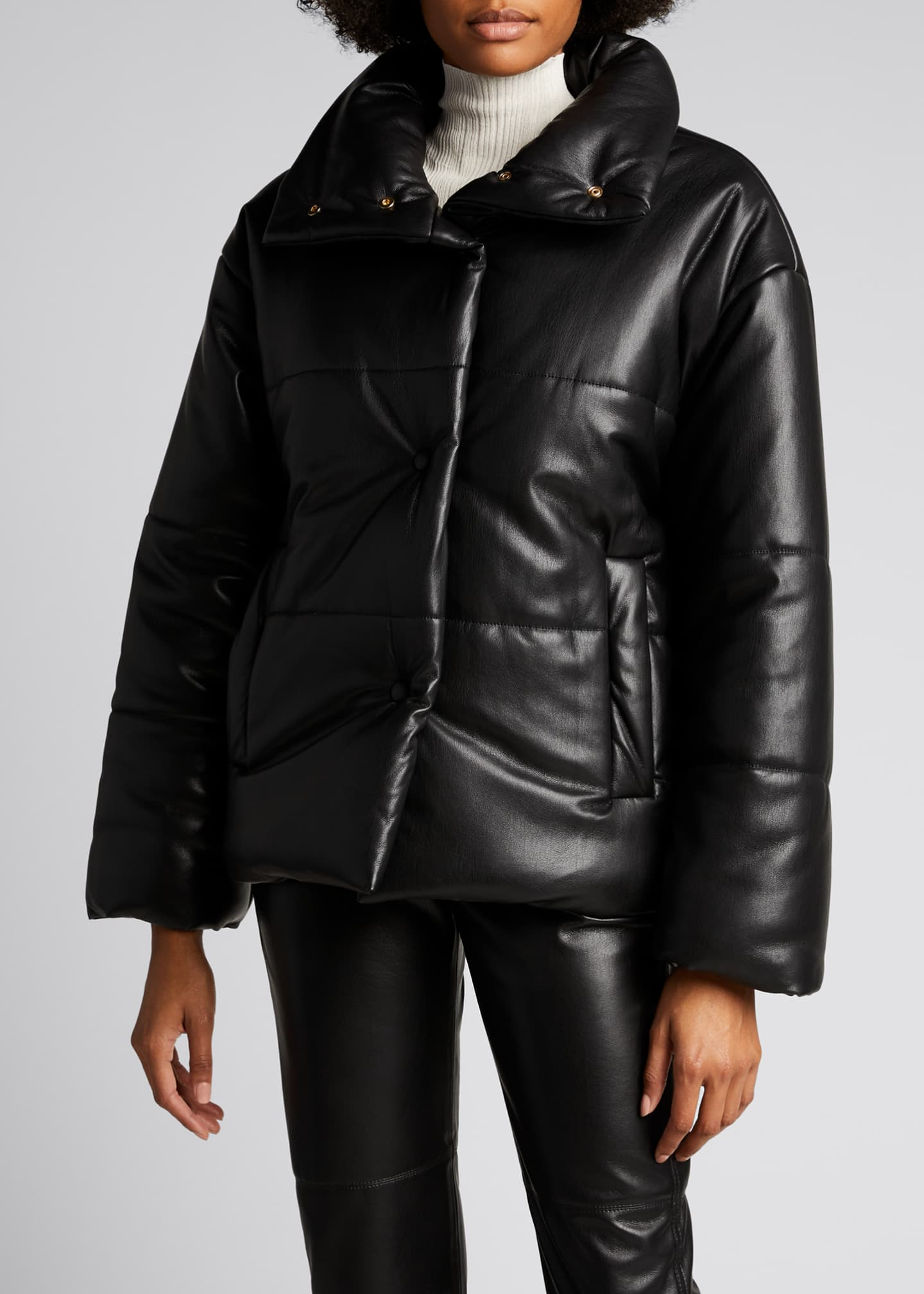 Image 3 of 4: Hide Vegan Leather Puffer Jacket