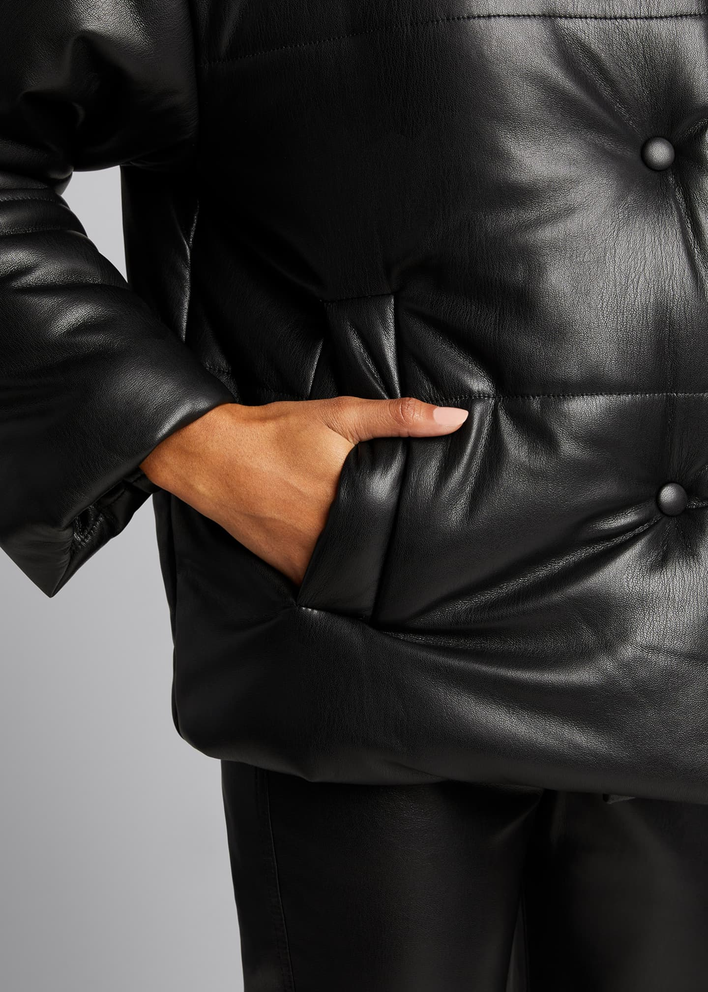 Image 4 of 4: Hide Vegan Leather Puffer Jacket