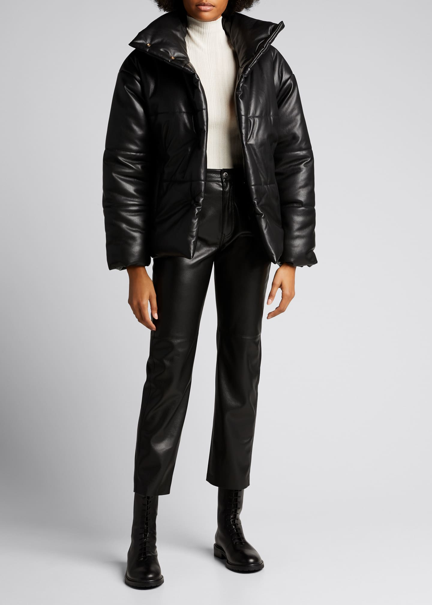Image 1 of 4: Hide Vegan Leather Puffer Jacket