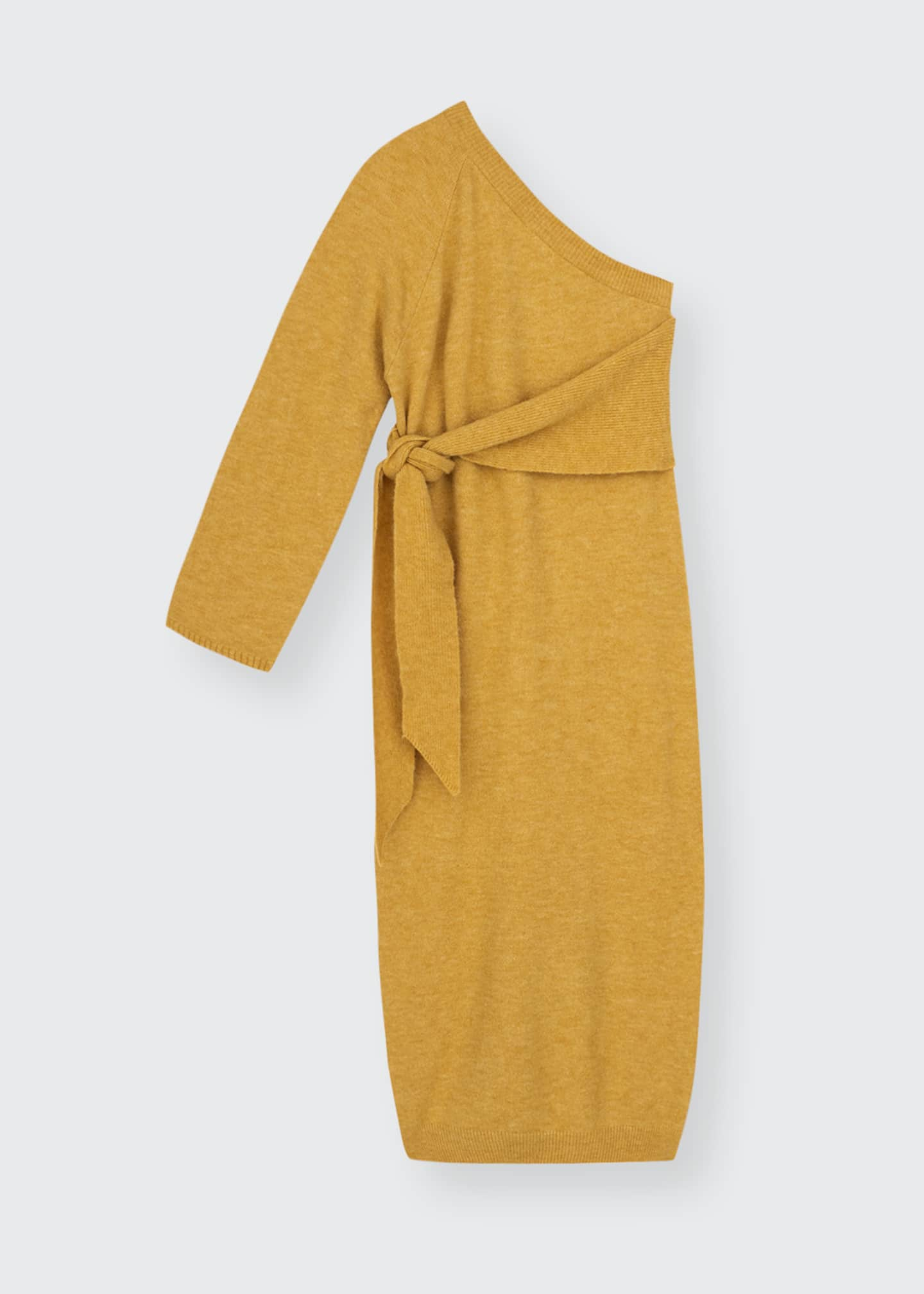 Image 1 of 1: Cedro One-Shoulder Belted Wool Midi Dress