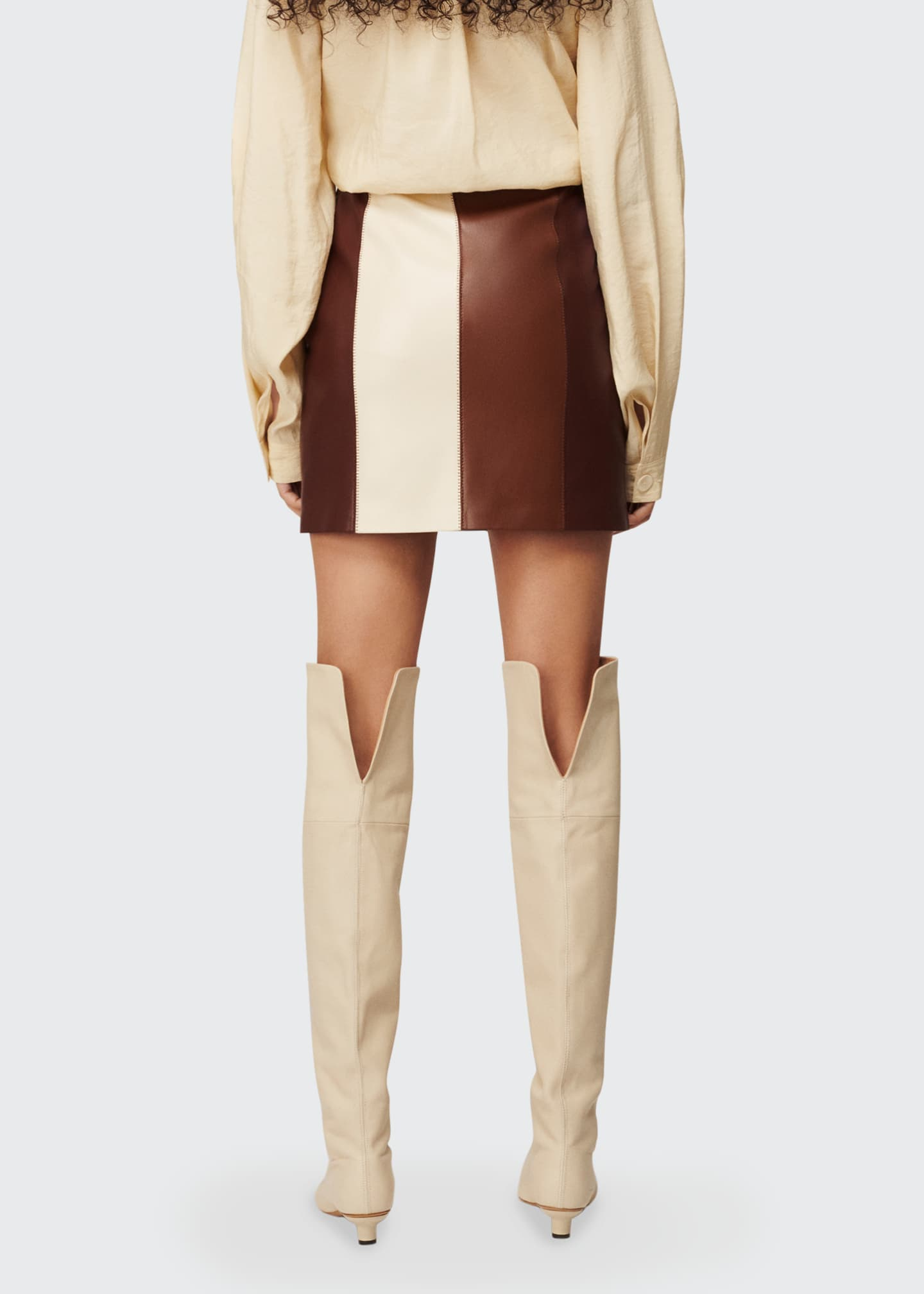 Image 2 of 3: Luyu Colorblock Vegan Leather Minskirt
