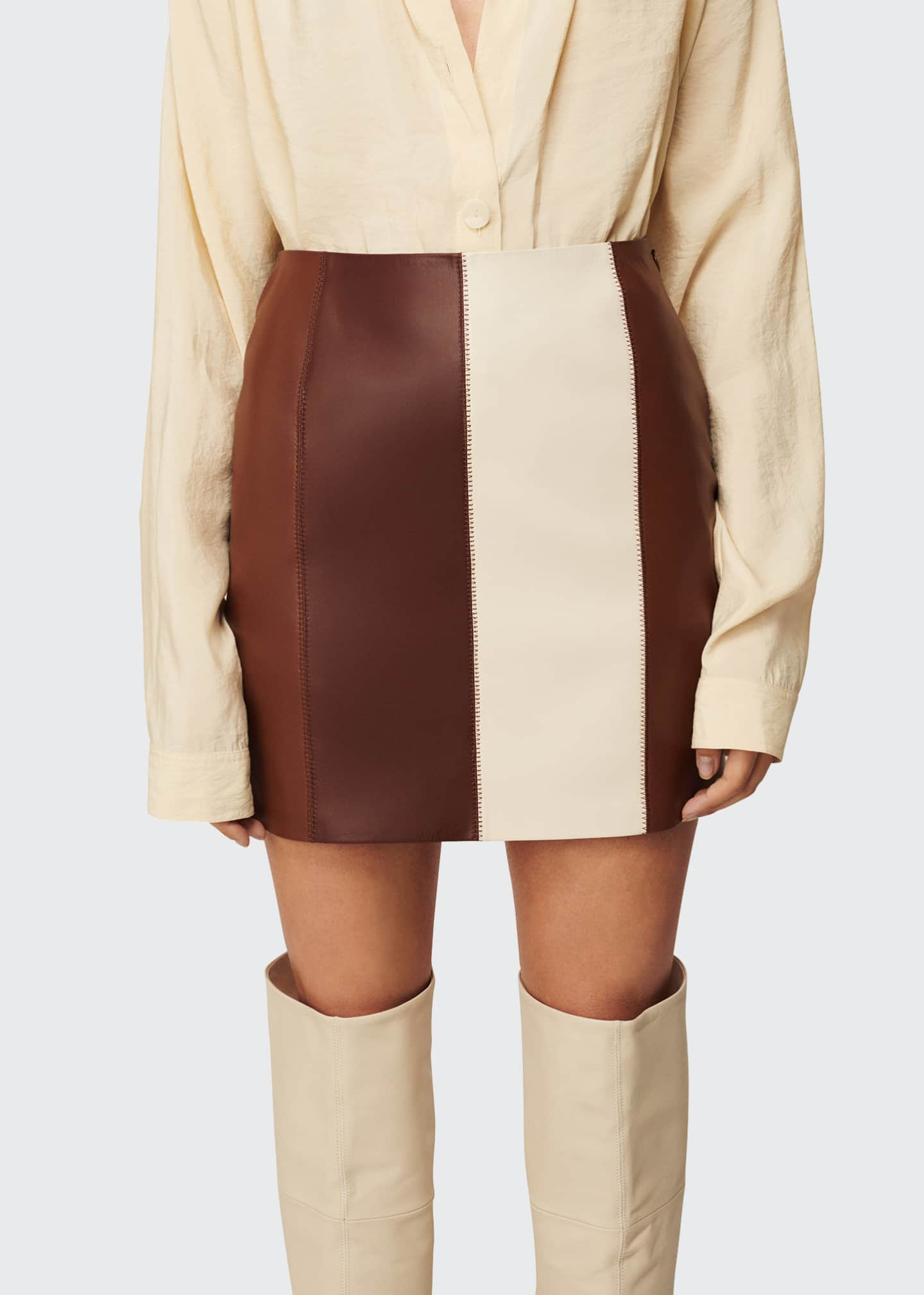 Image 1 of 3: Luyu Colorblock Vegan Leather Minskirt