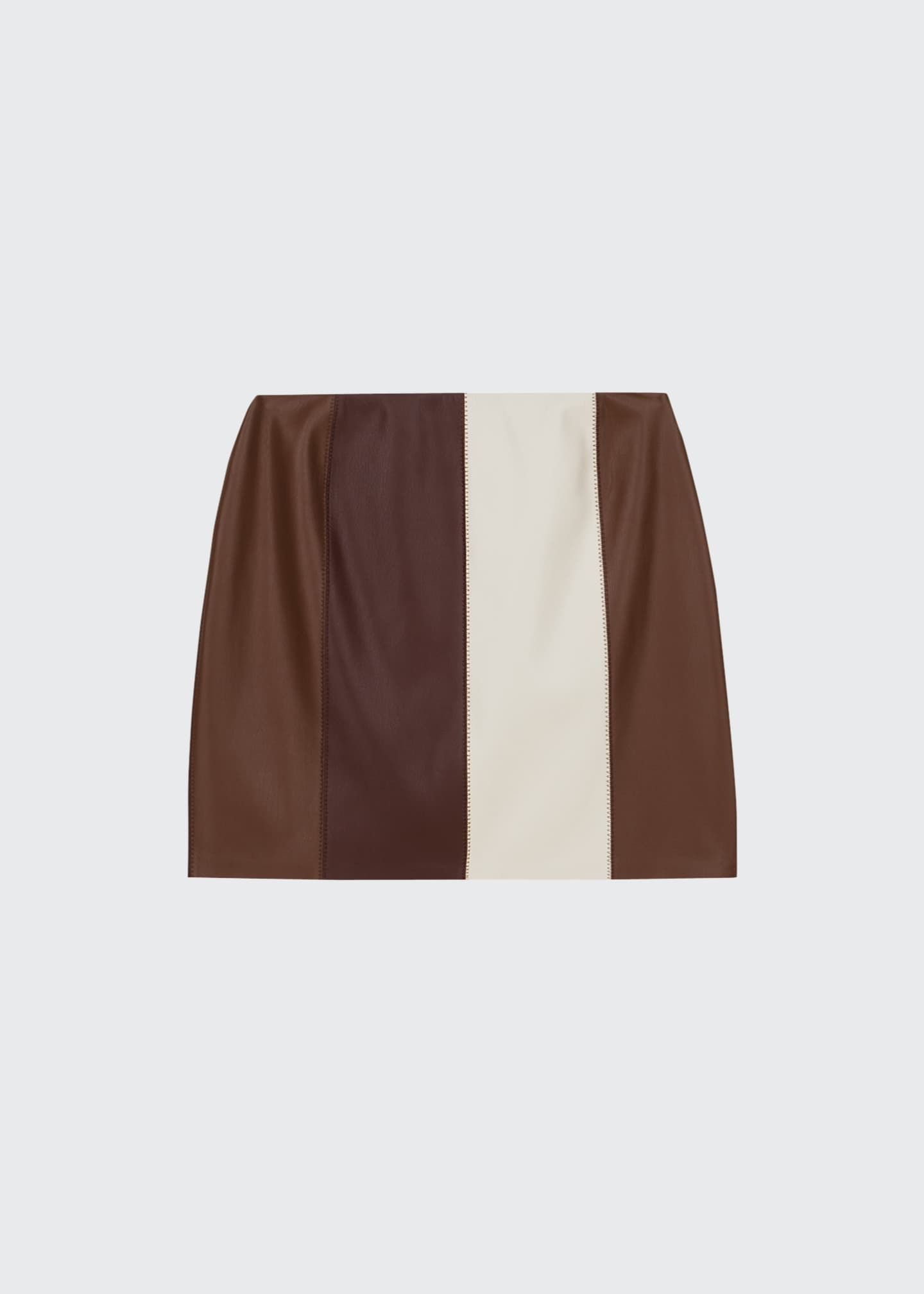 Image 3 of 3: Luyu Colorblock Vegan Leather Minskirt