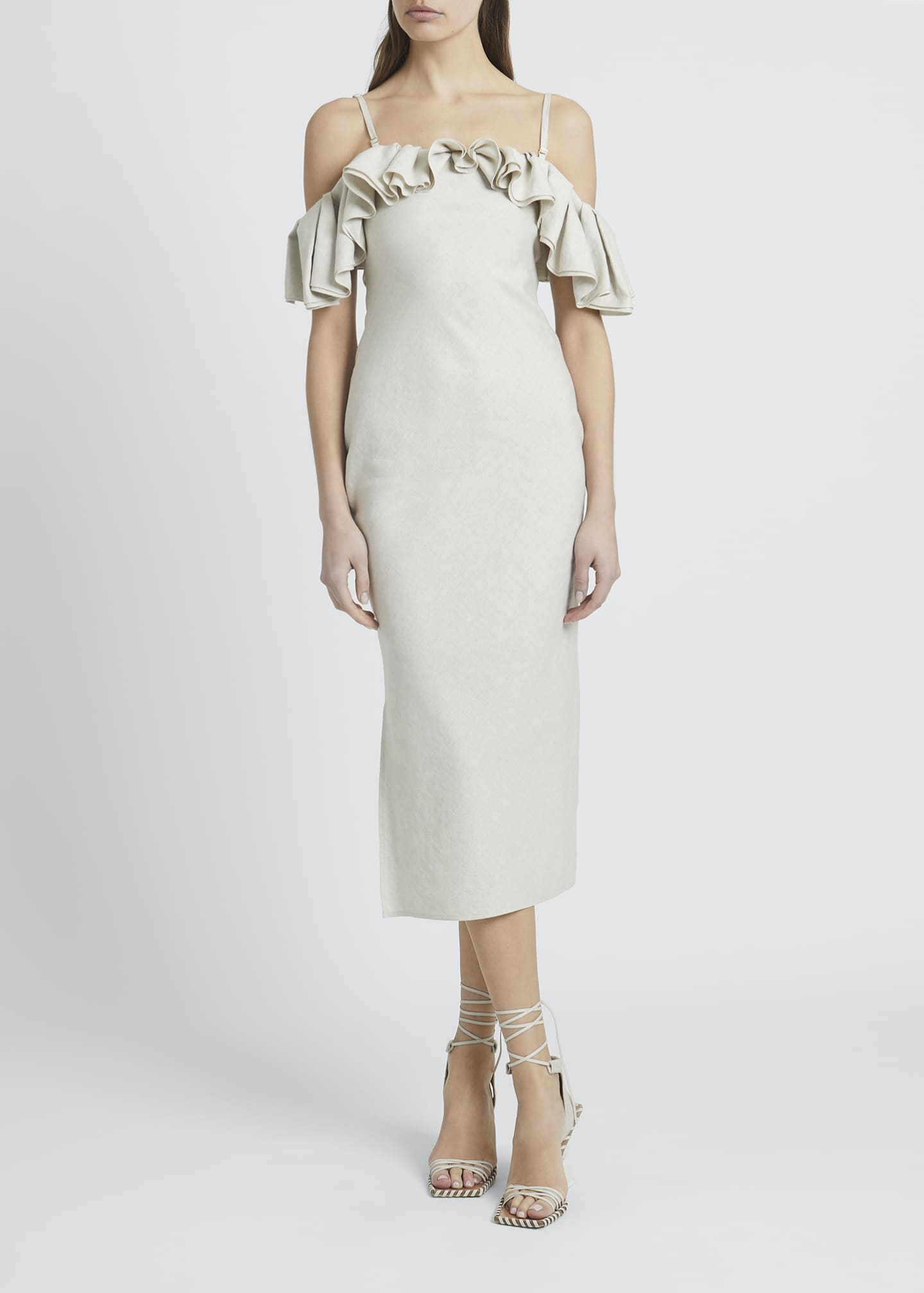 Image 3 of 3: Pampelonne Off-Shoulder Ruffle Midi Dress