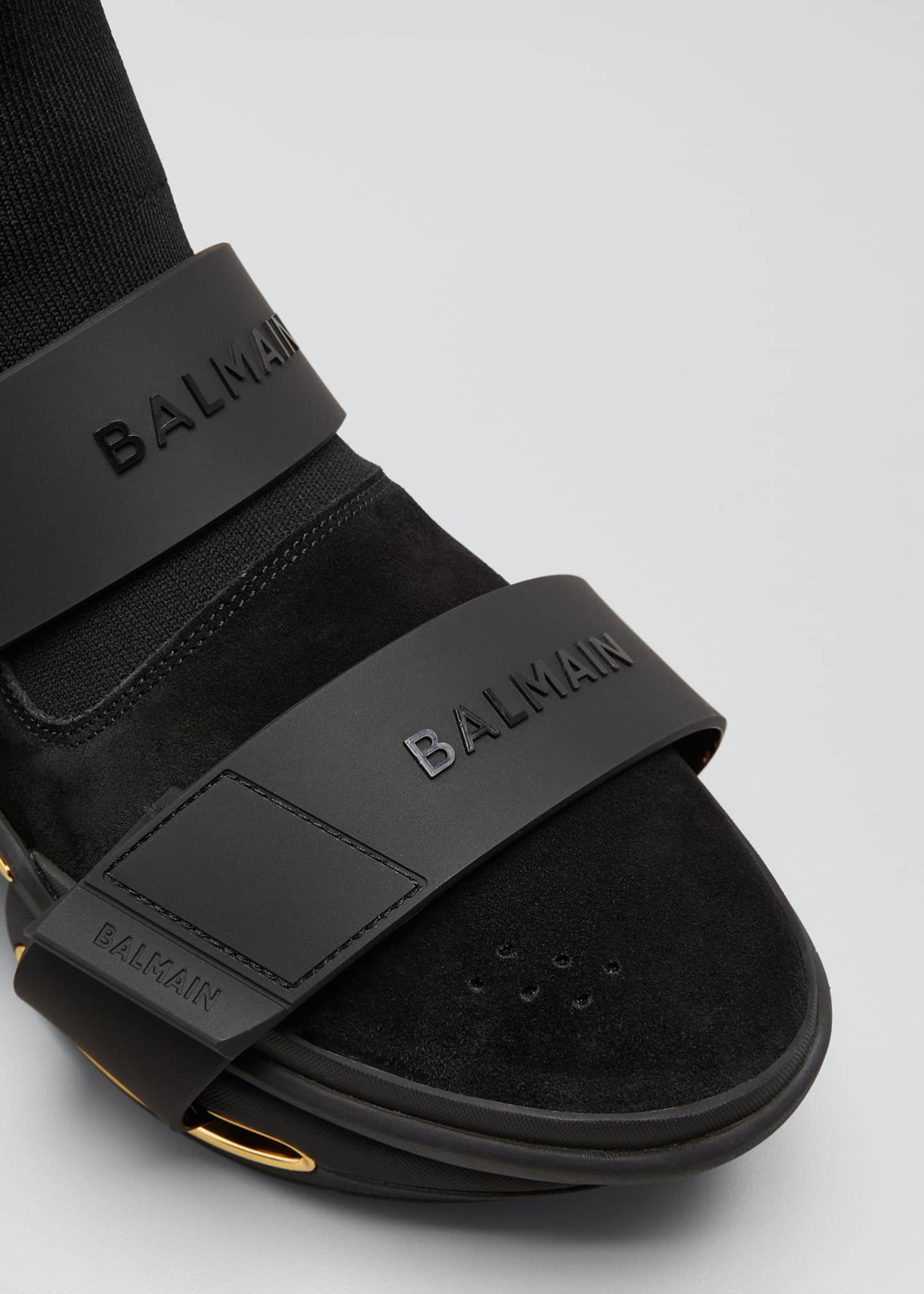 Image 3 of 3: Men's B-Bold Double Logo Grip-Strap High-Top Sneakers
