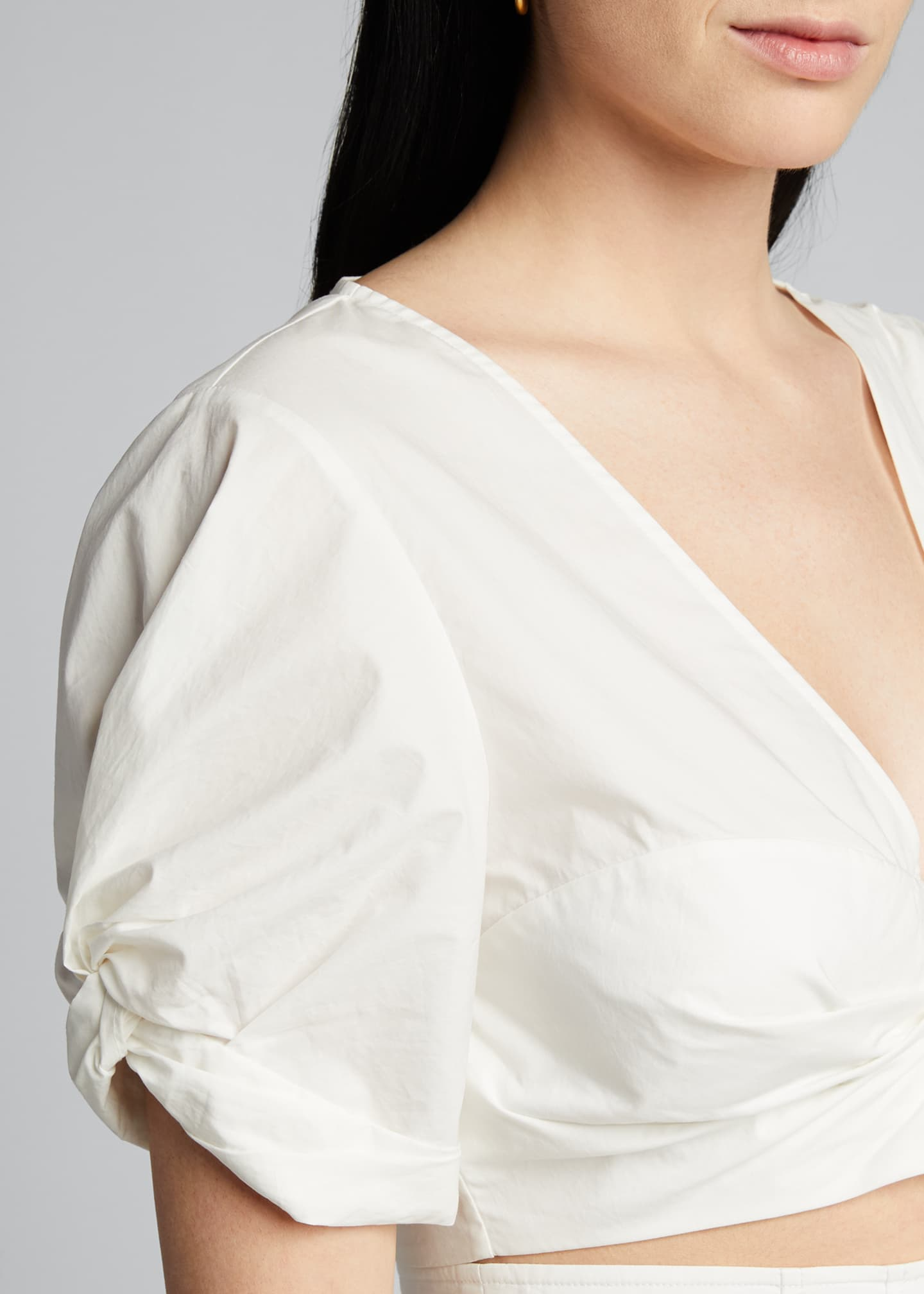 Image 4 of 5: Ryan Gathered Cotton Cropped Top