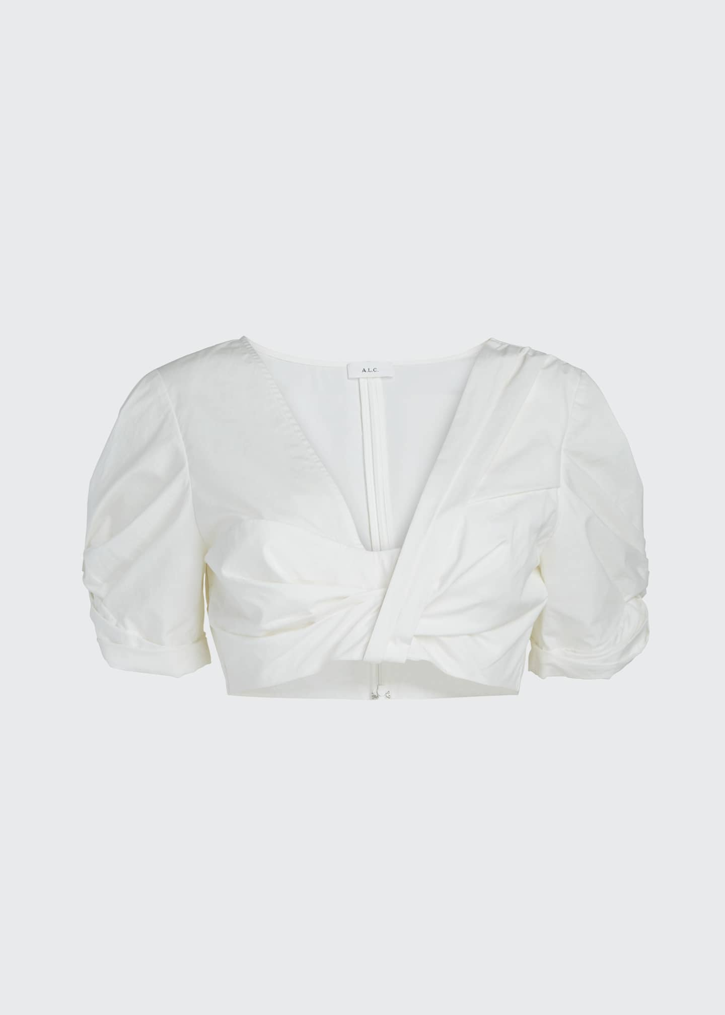 Image 5 of 5: Ryan Gathered Cotton Cropped Top