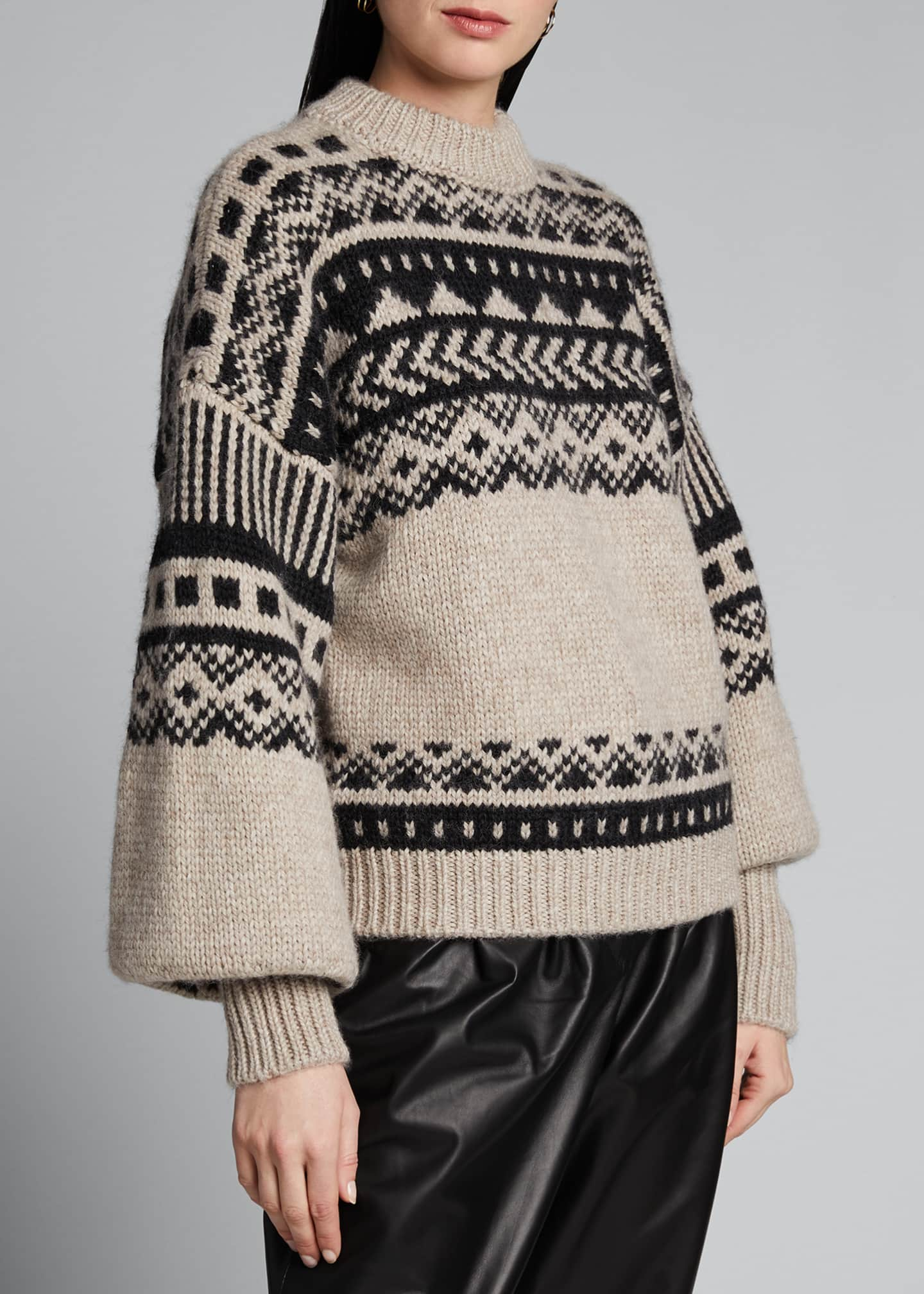 Image 3 of 5: Fair Isle Oversized Sweater
