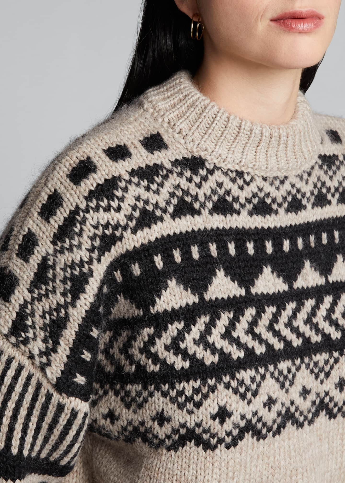 Image 4 of 5: Fair Isle Oversized Sweater