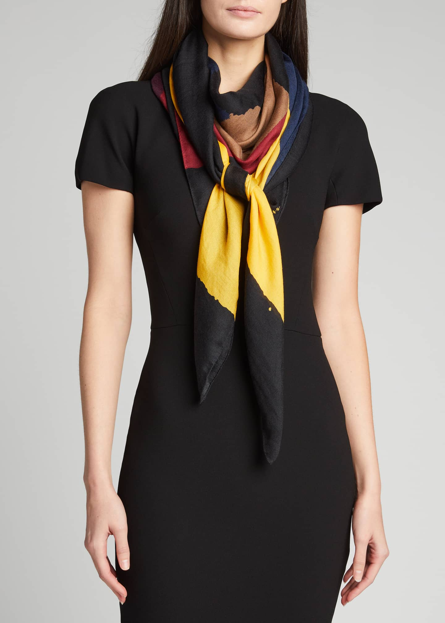 Image 3 of 4: Geometric-Print Cashmere Scarf
