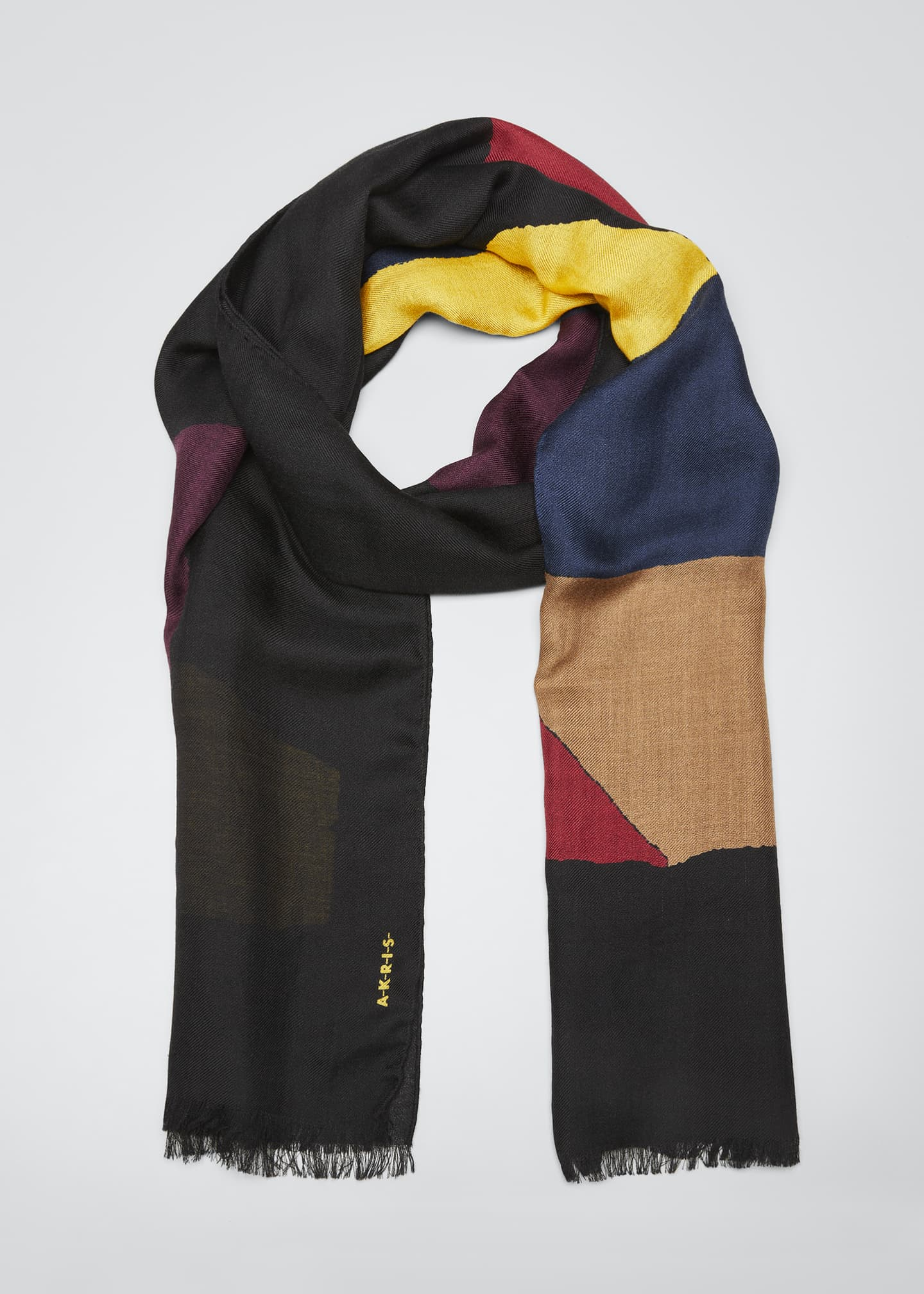 Image 1 of 4: Geometric-Print Cashmere Scarf