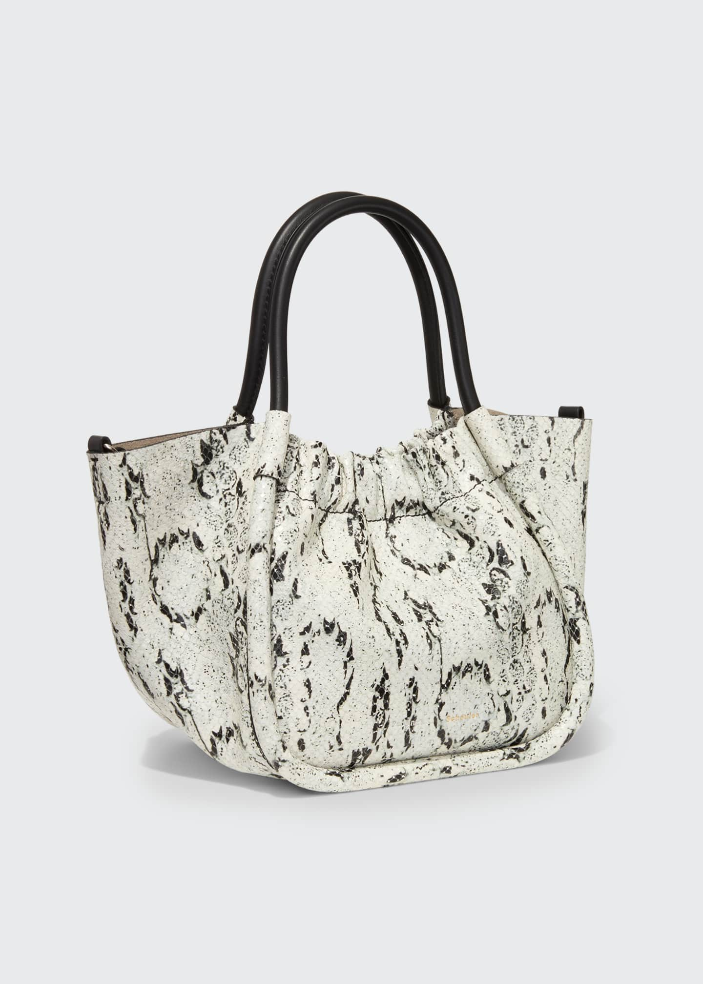 Image 2 of 3: Small Snake-Print Ruched Tote Bag