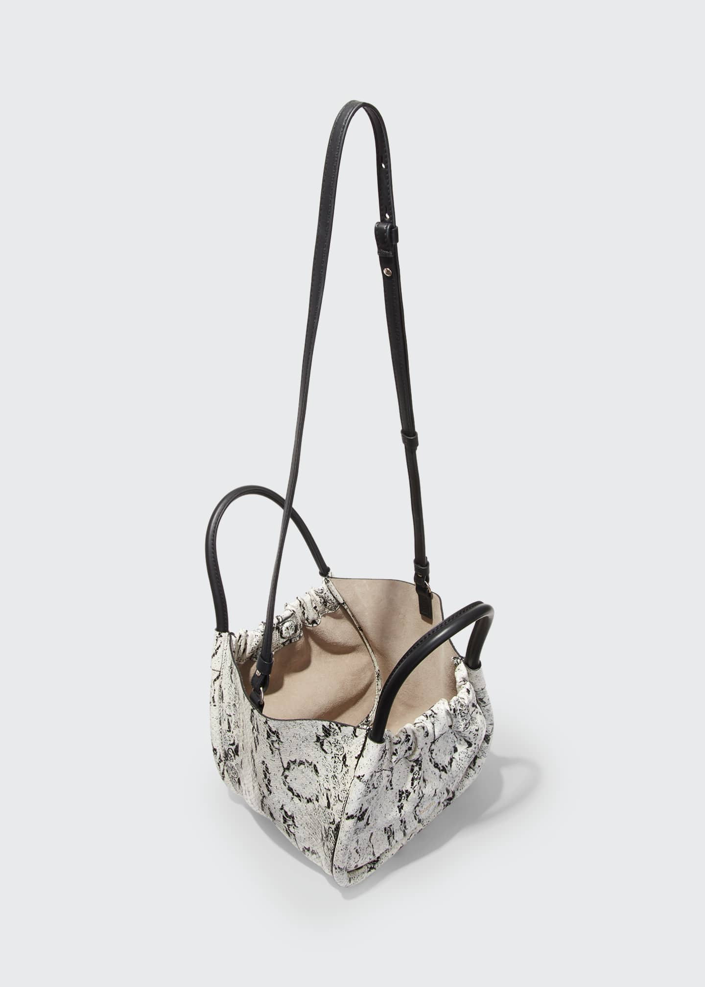 Image 3 of 3: Small Snake-Print Ruched Tote Bag
