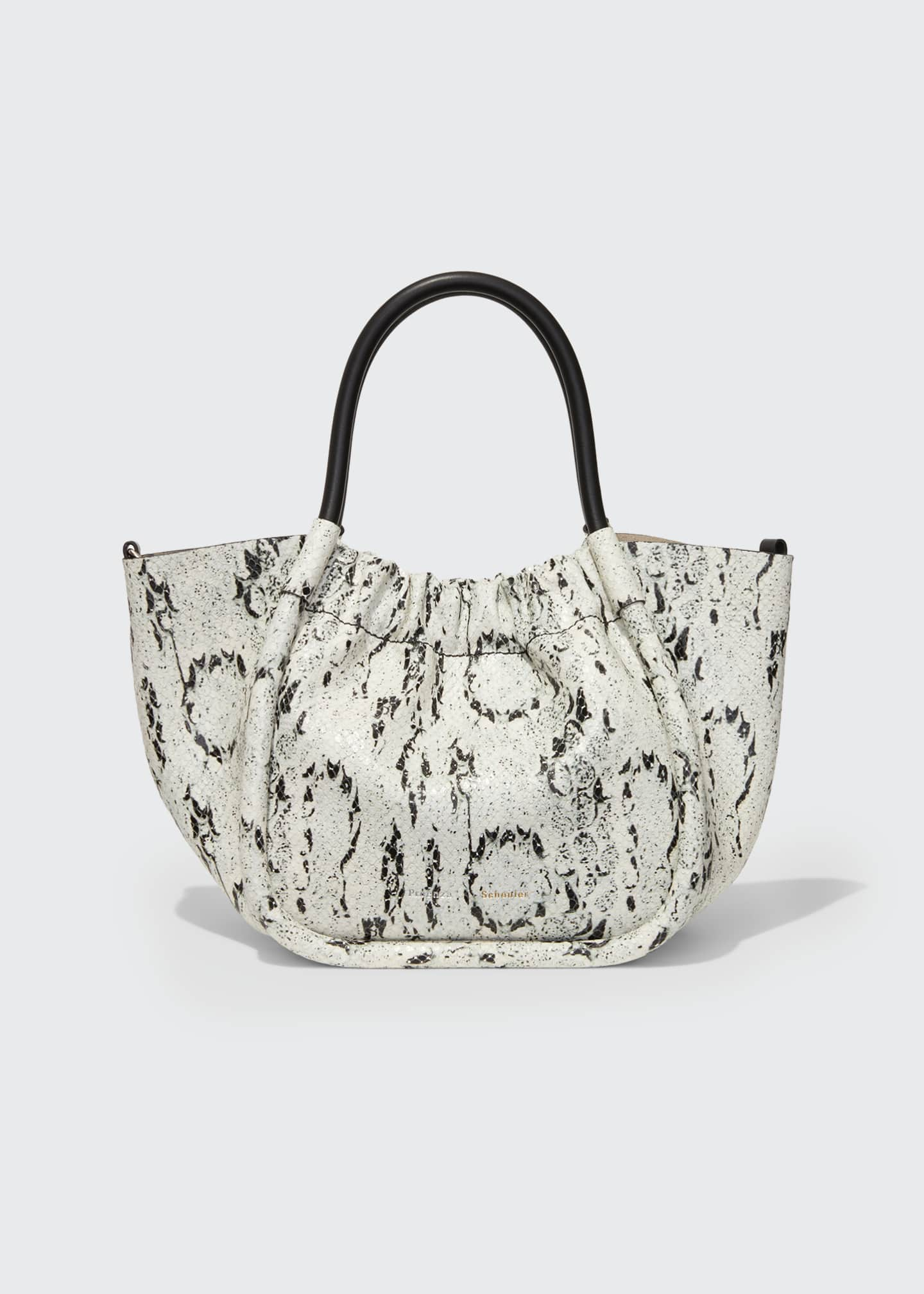 Image 1 of 3: Small Snake-Print Ruched Tote Bag