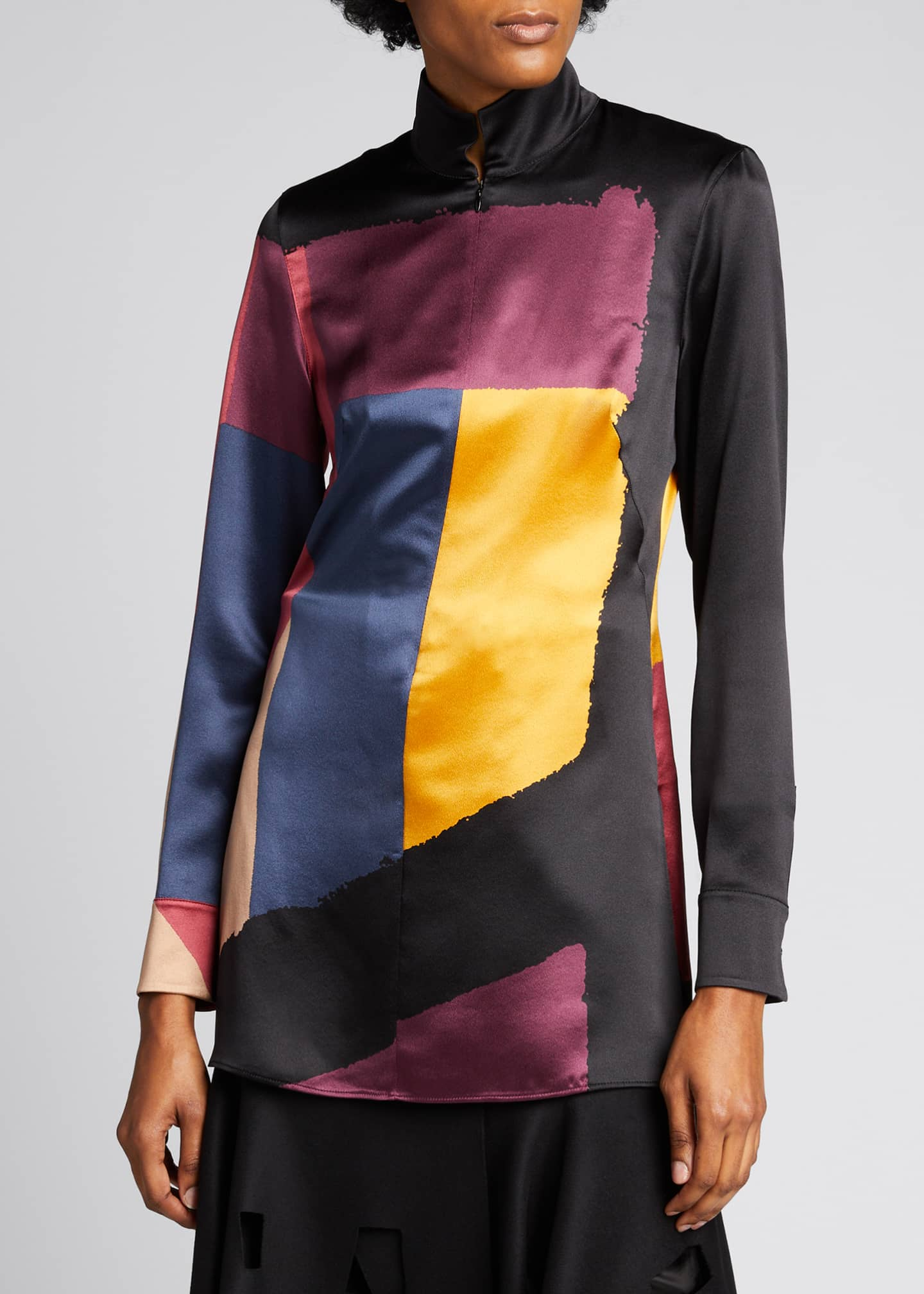 Image 3 of 5: Geometric-Print Zip-Front Tunic Top