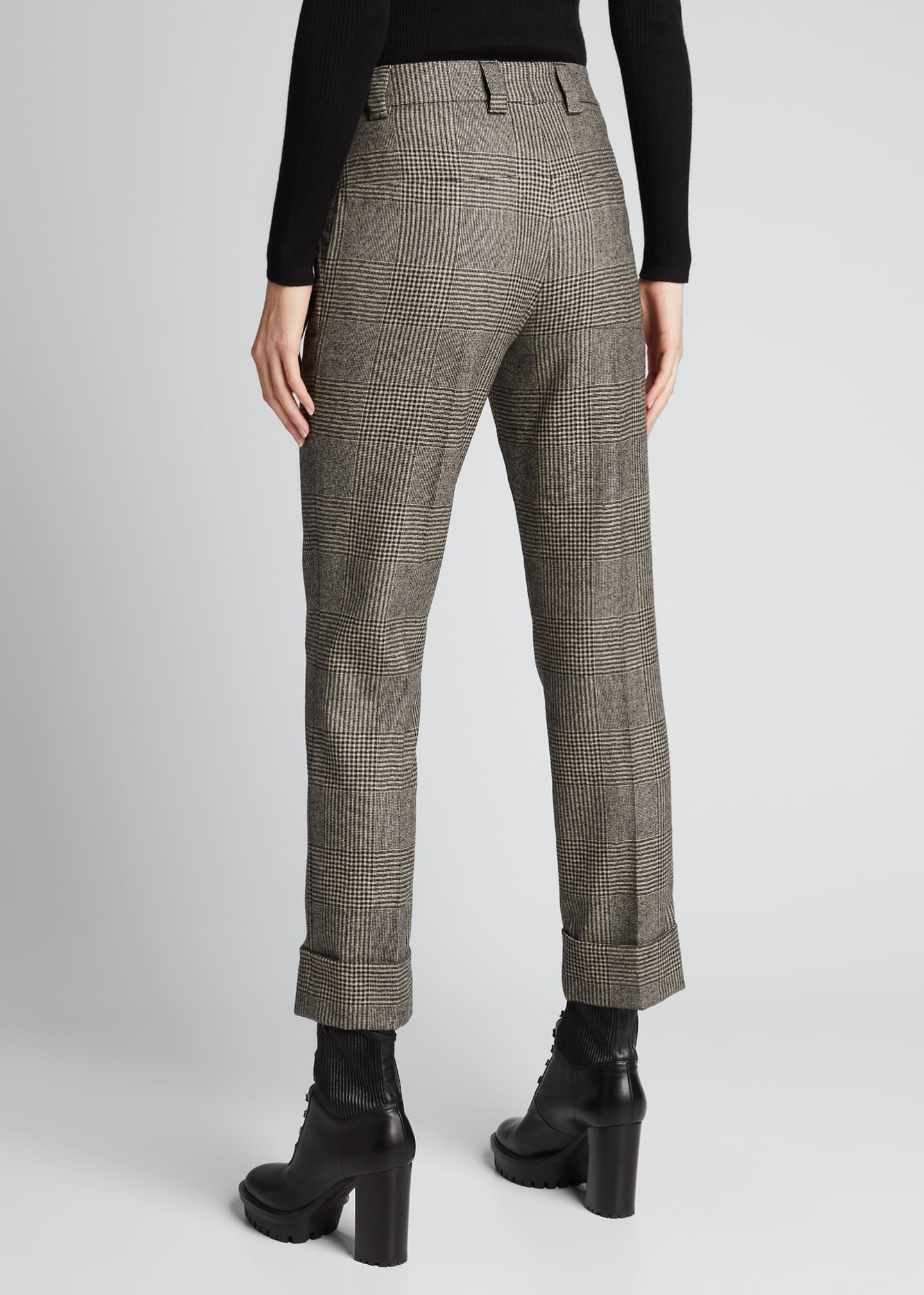 Image 2 of 5: Maxima Plaid Wool Cuffed Pants