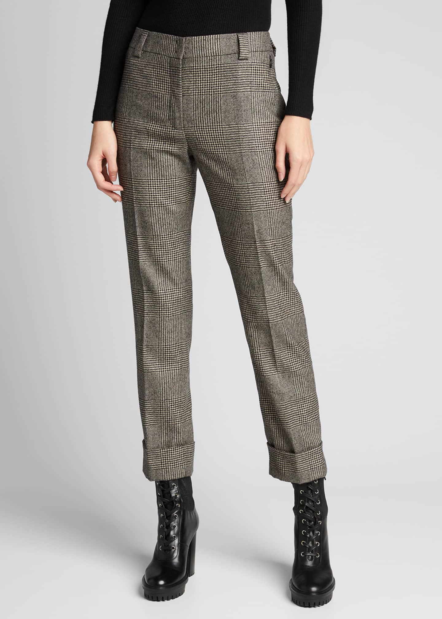 Image 3 of 5: Maxima Plaid Wool Cuffed Pants