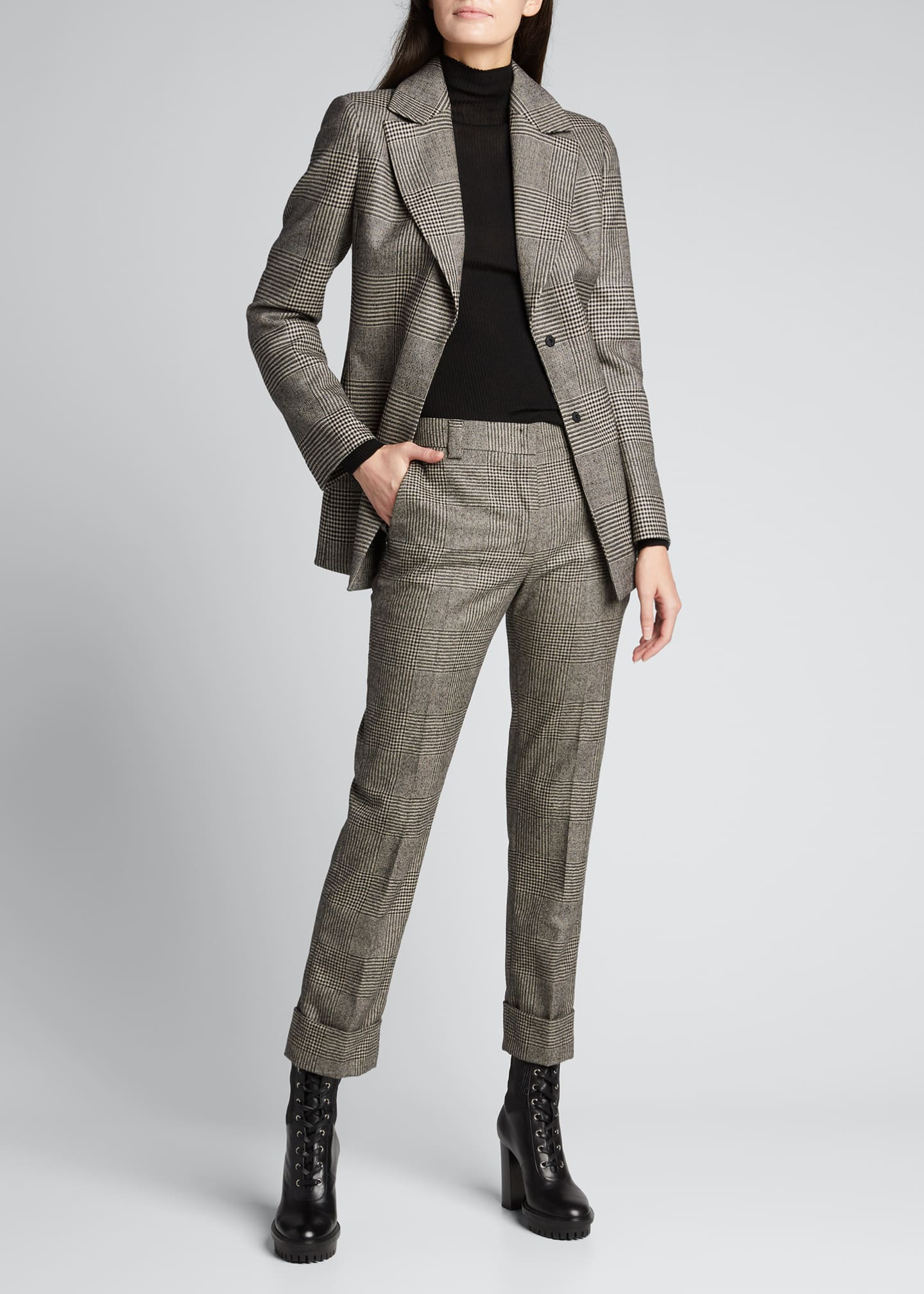 Image 1 of 5: Maxima Plaid Wool Cuffed Pants