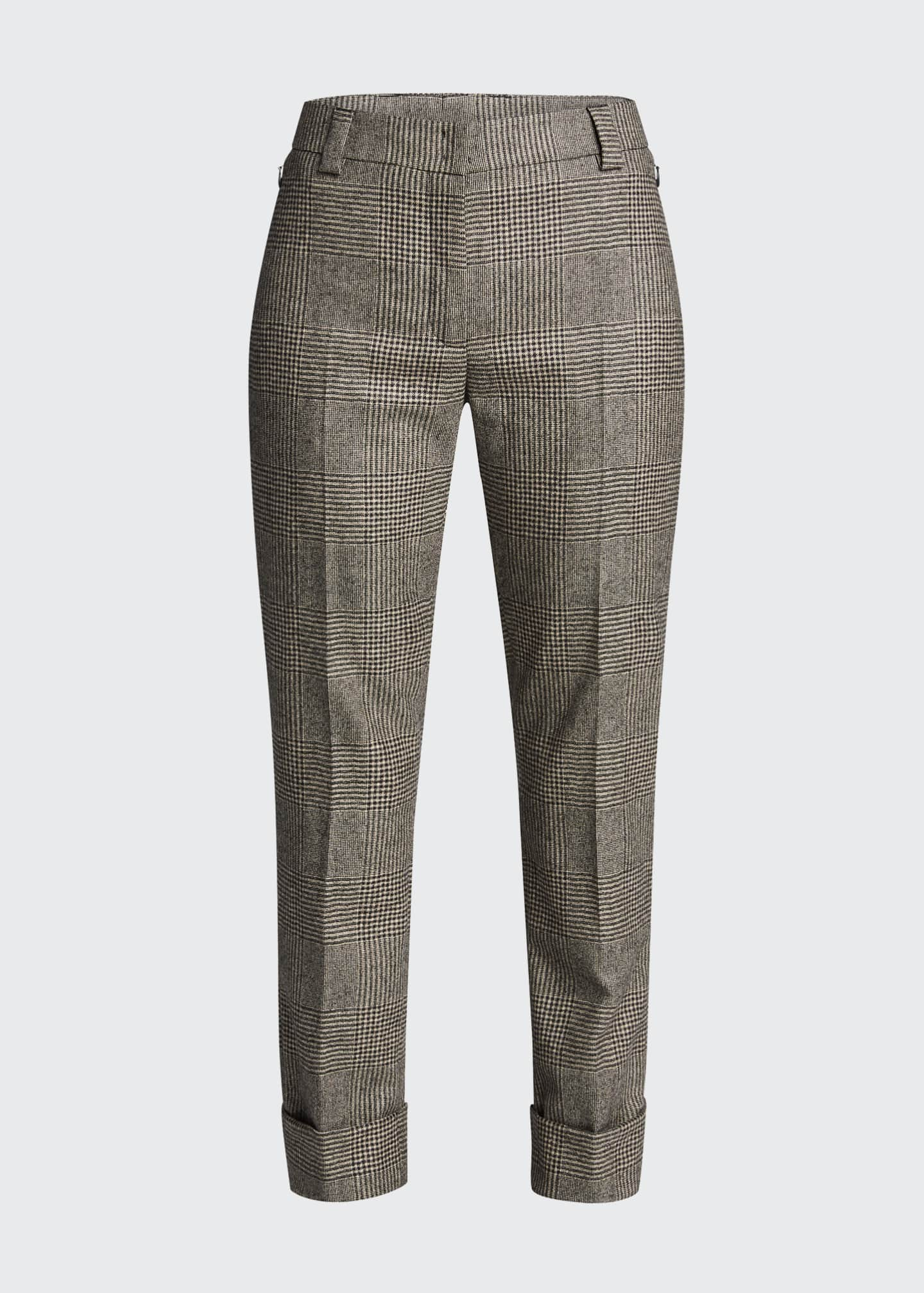 Image 5 of 5: Maxima Plaid Wool Cuffed Pants