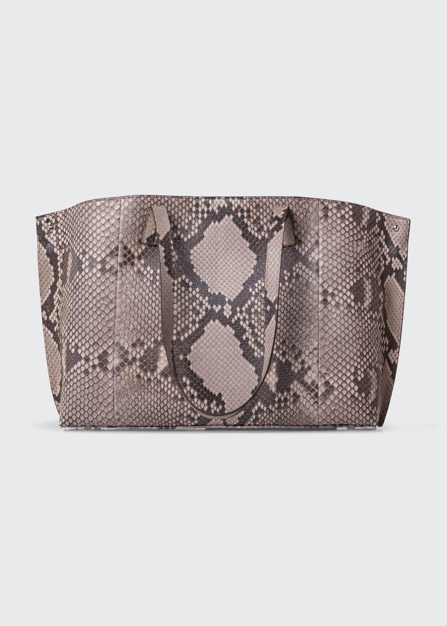 Image 2 of 4: AI Small Soft Python Shoulder Tote Bag