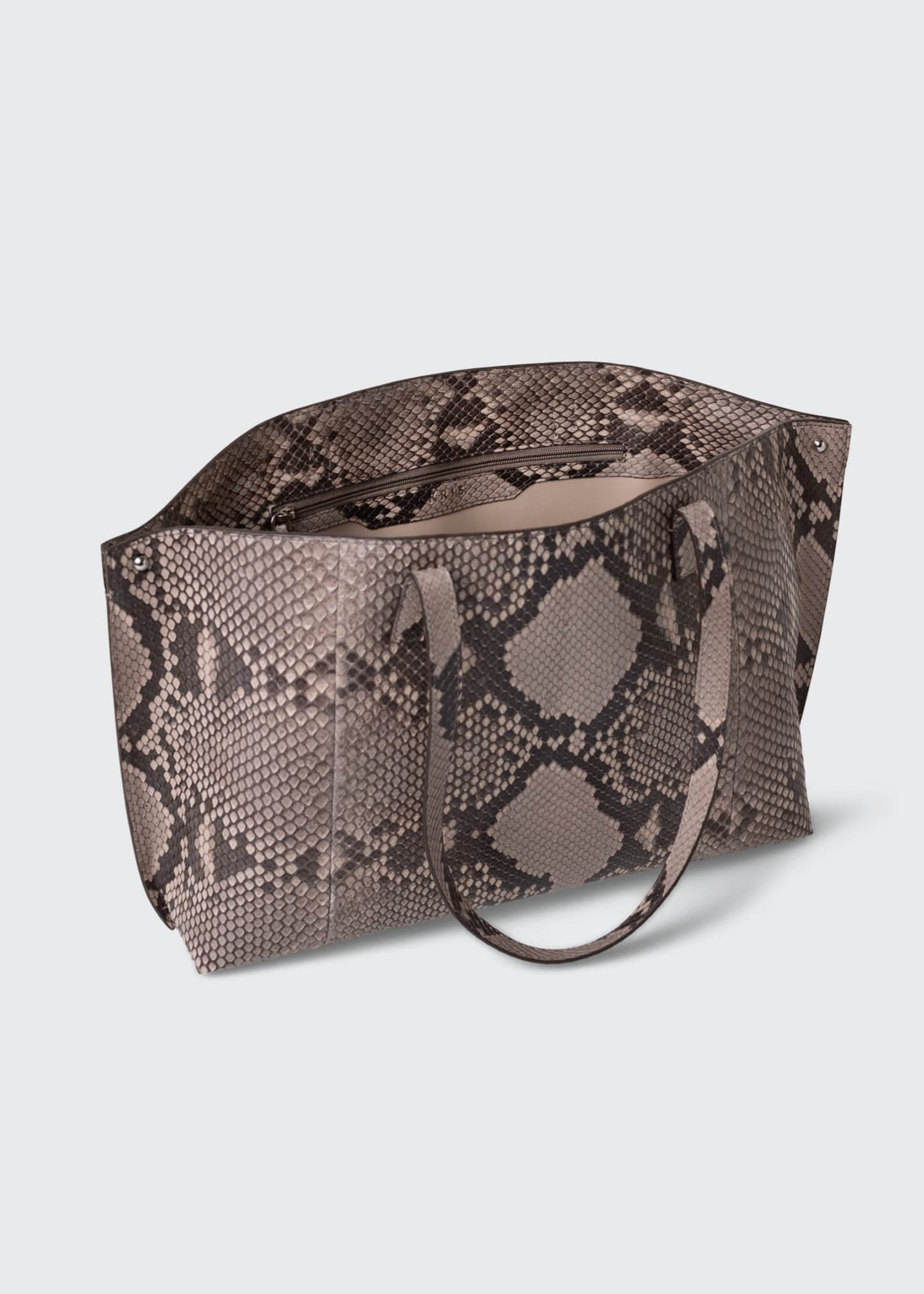 Image 3 of 4: AI Small Soft Python Shoulder Tote Bag
