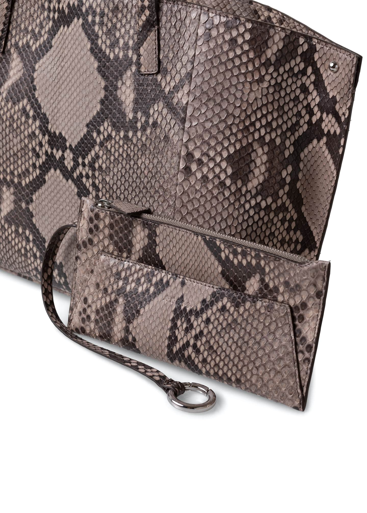 Image 4 of 4: AI Small Soft Python Shoulder Tote Bag