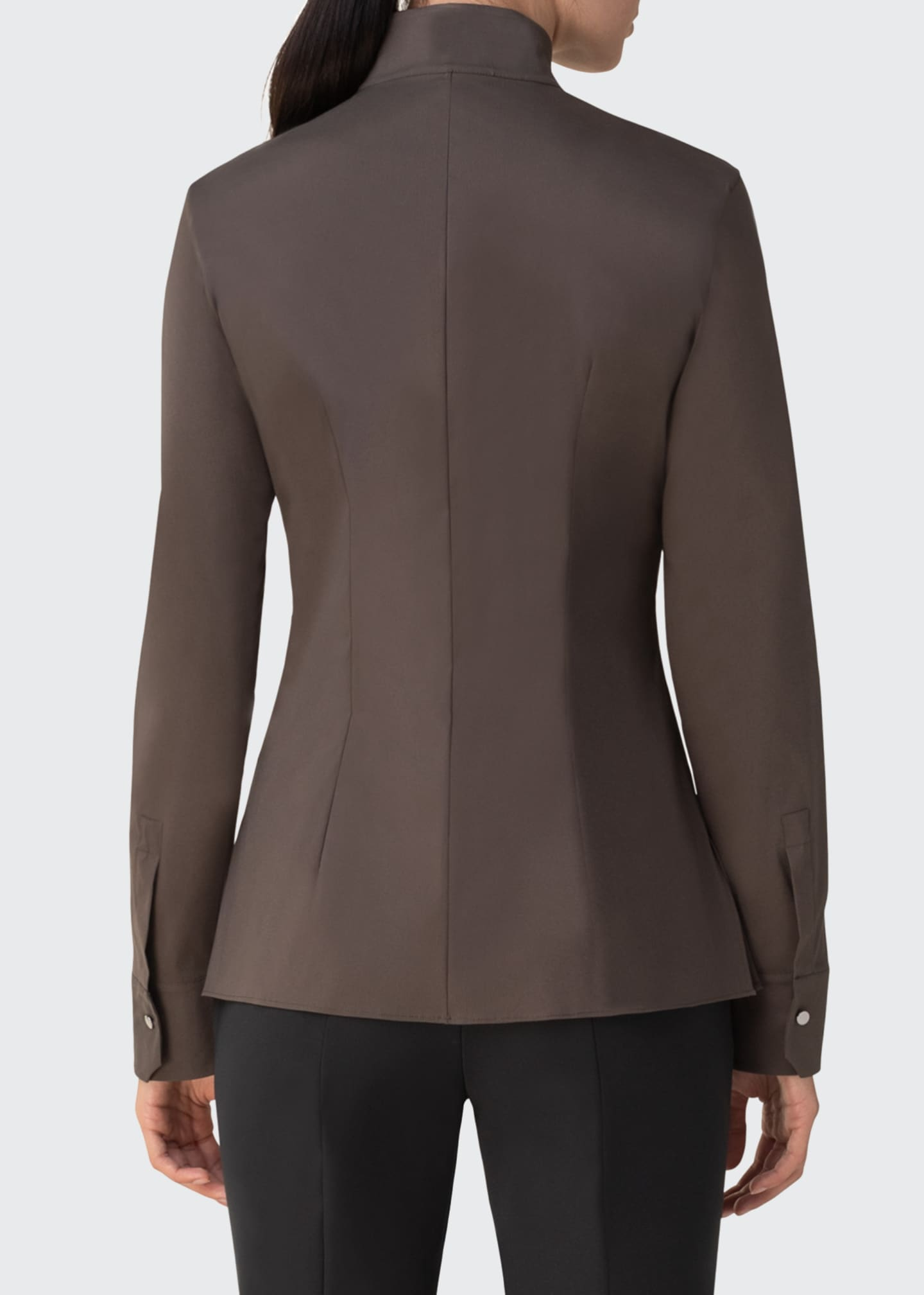 Image 2 of 3: Mock-Neck Poplin Blouse