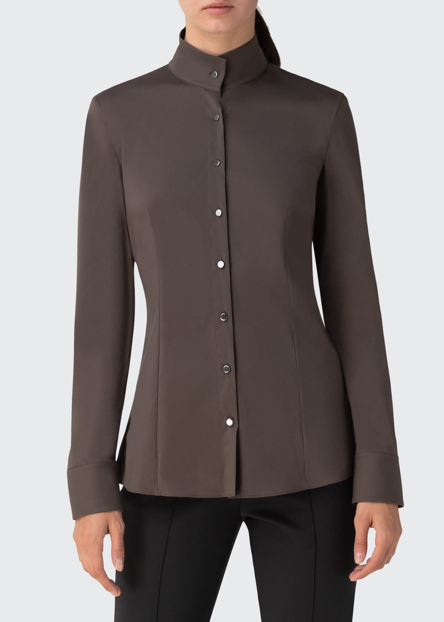 Image 3 of 3: Mock-Neck Poplin Blouse