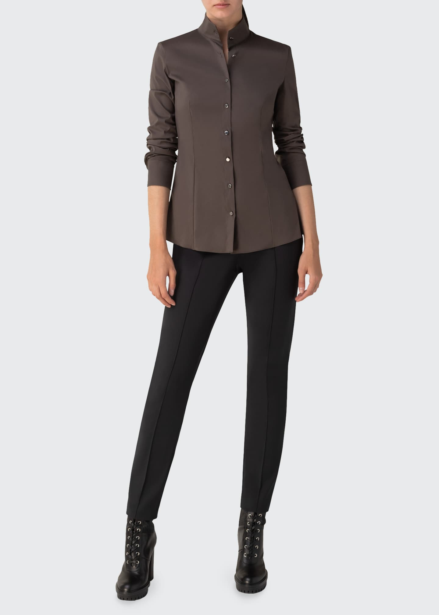 Image 1 of 3: Mock-Neck Poplin Blouse