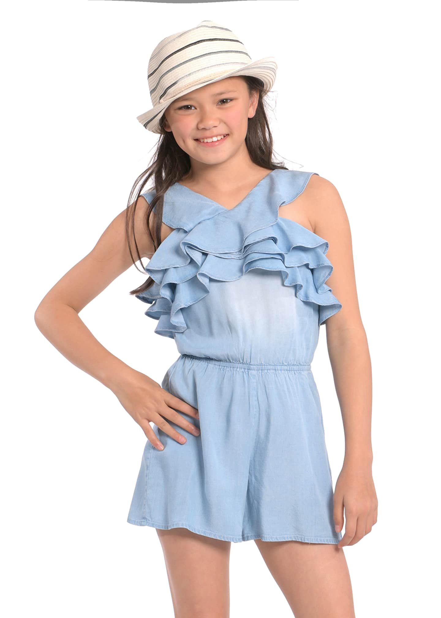 Image 2 of 3: Girl's Smocked Back Ruffle Romper, Size 7-14