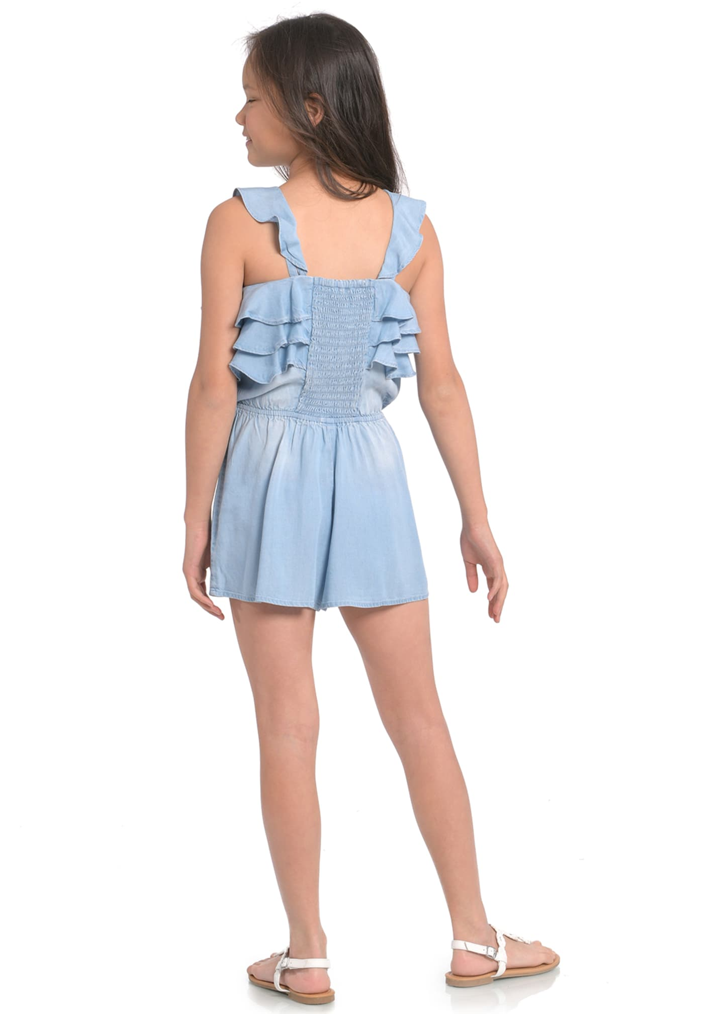 Image 3 of 3: Girl's Smocked Back Ruffle Romper, Size 7-14