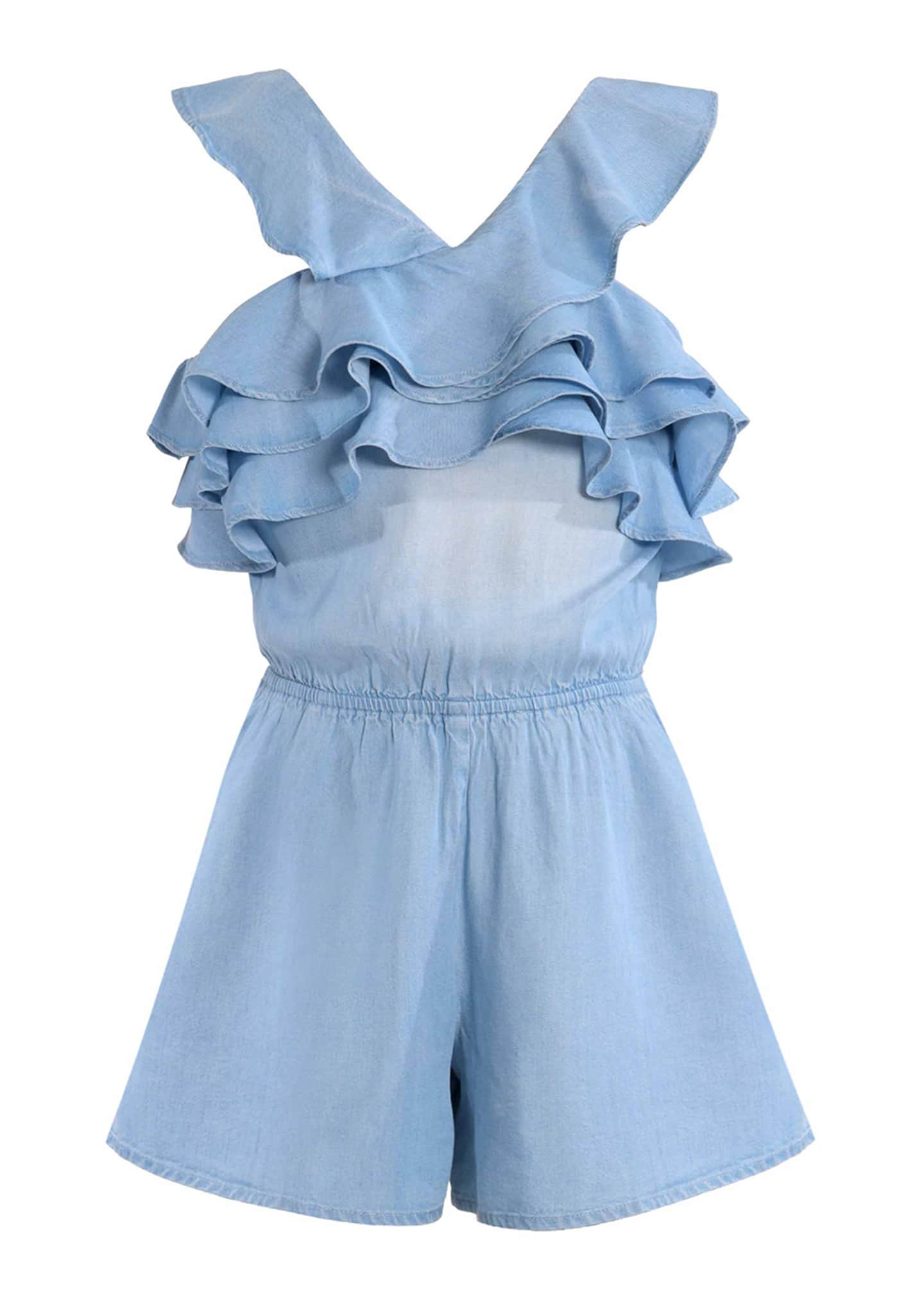 Image 1 of 3: Girl's Smocked Back Ruffle Romper, Size 7-14