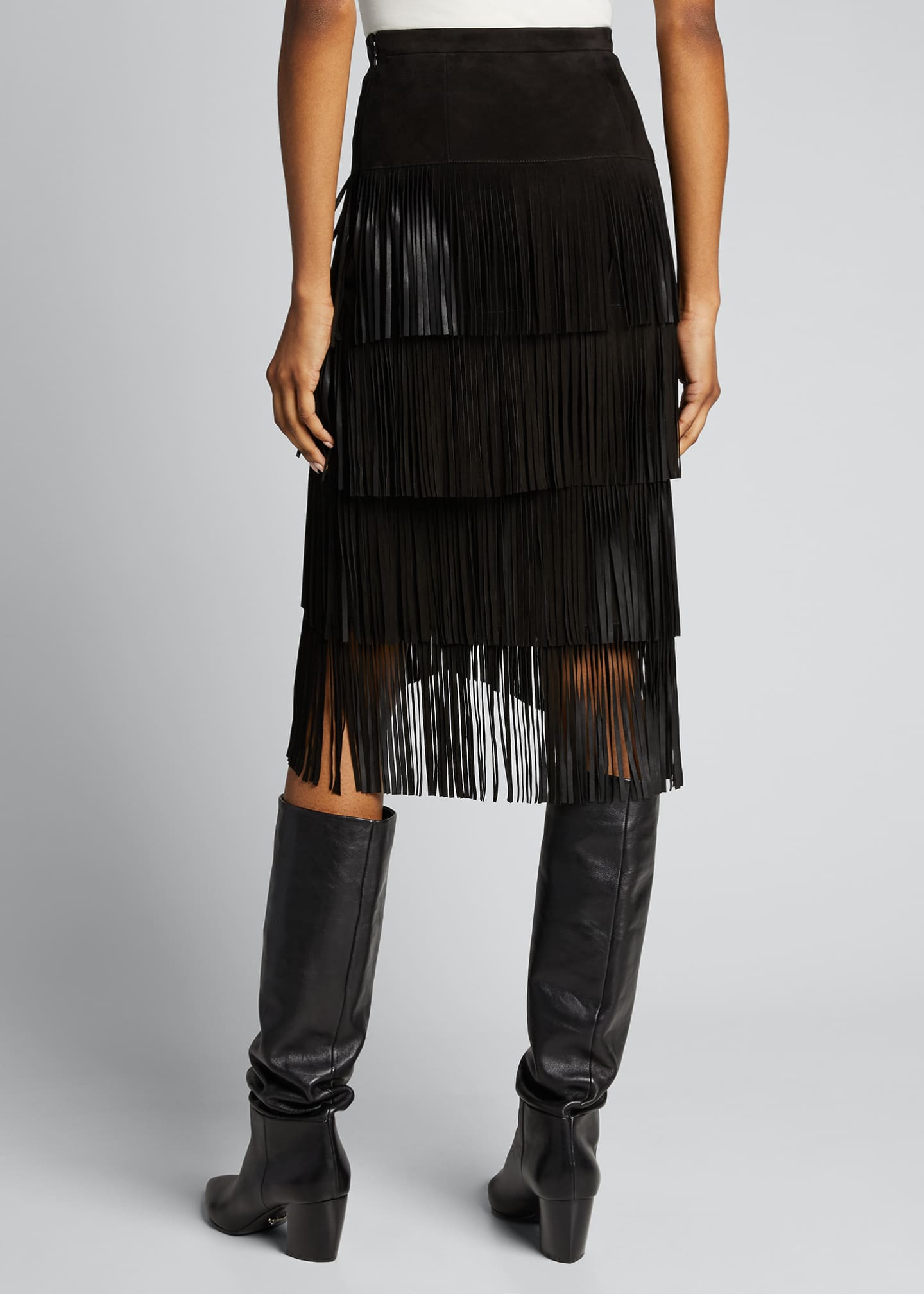 Image 2 of 5: Fringed Suede Pencil Skirt