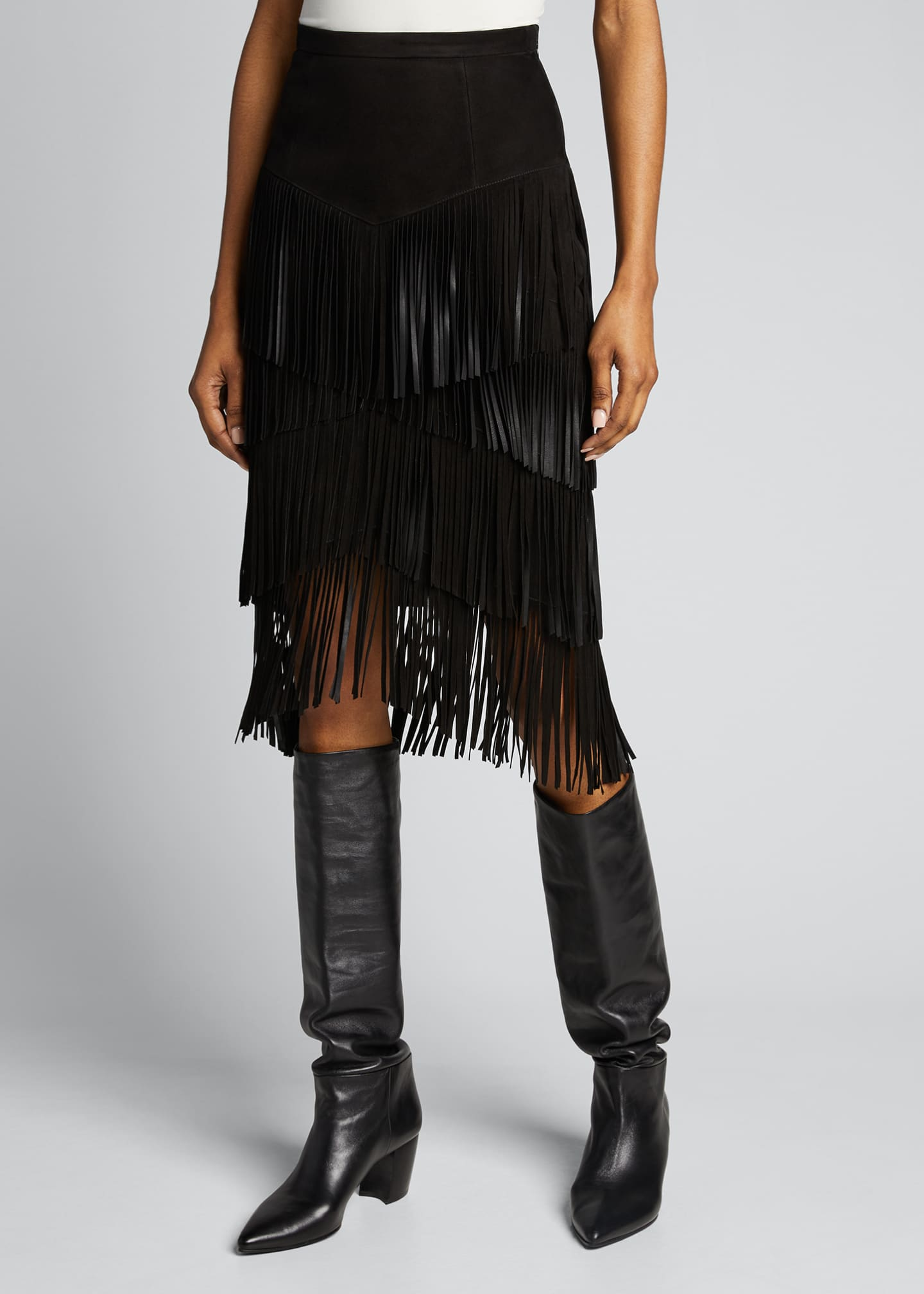 Image 3 of 5: Fringed Suede Pencil Skirt