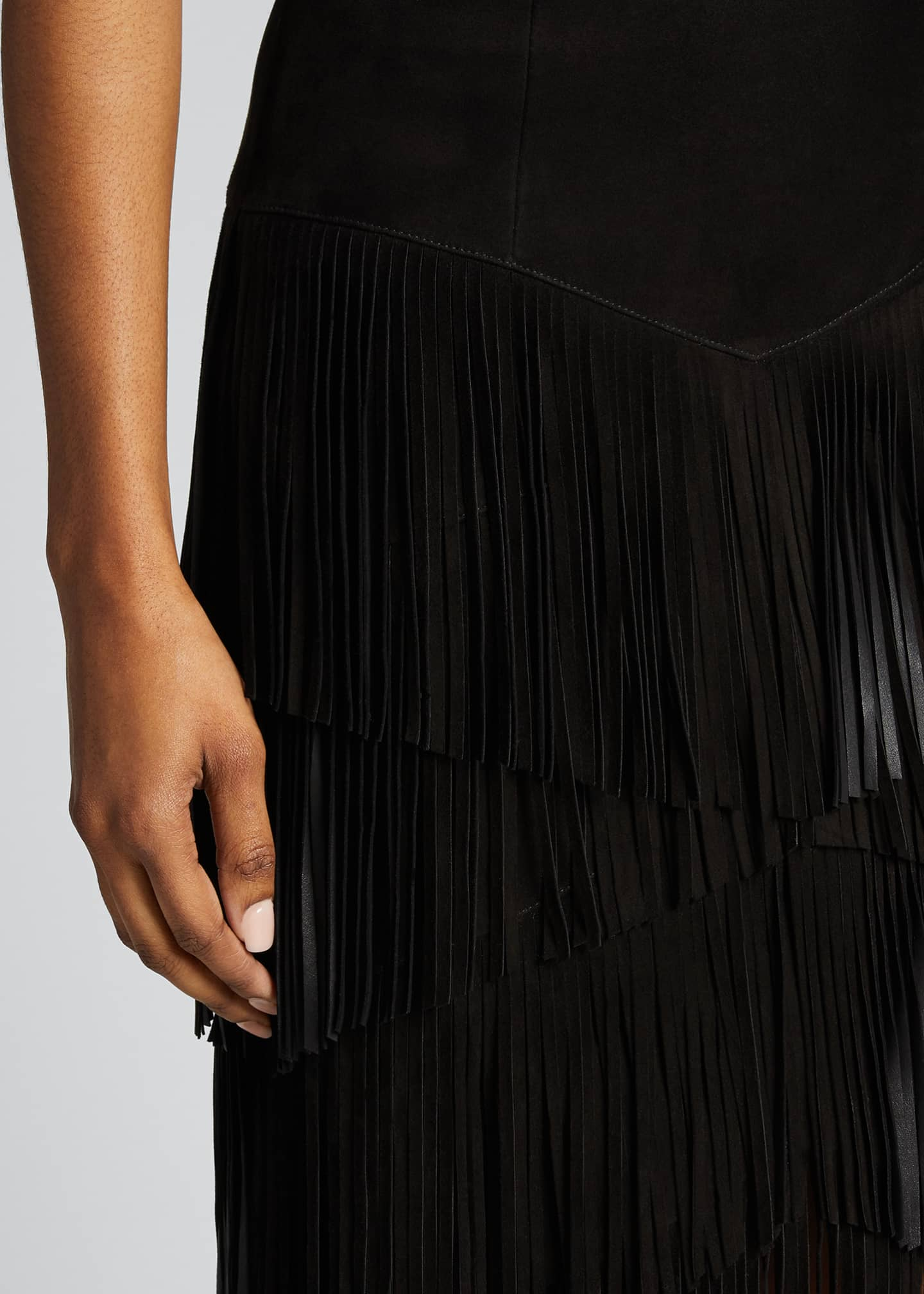 Image 4 of 5: Fringed Suede Pencil Skirt
