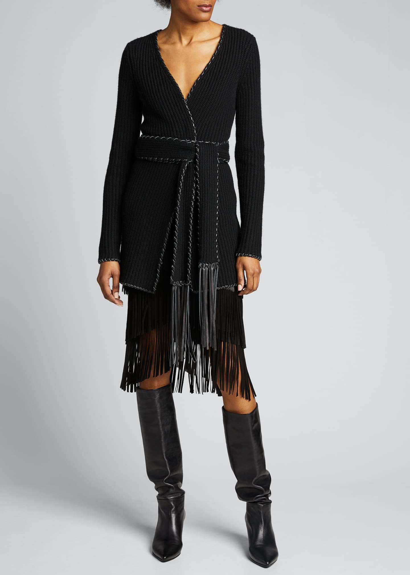 Image 1 of 5: Fringed Suede Pencil Skirt