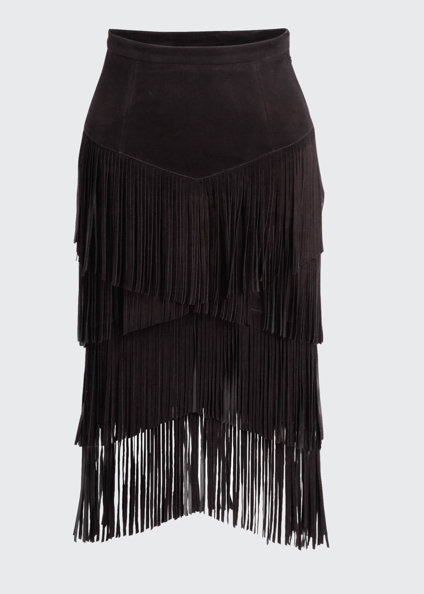 Image 5 of 5: Fringed Suede Pencil Skirt