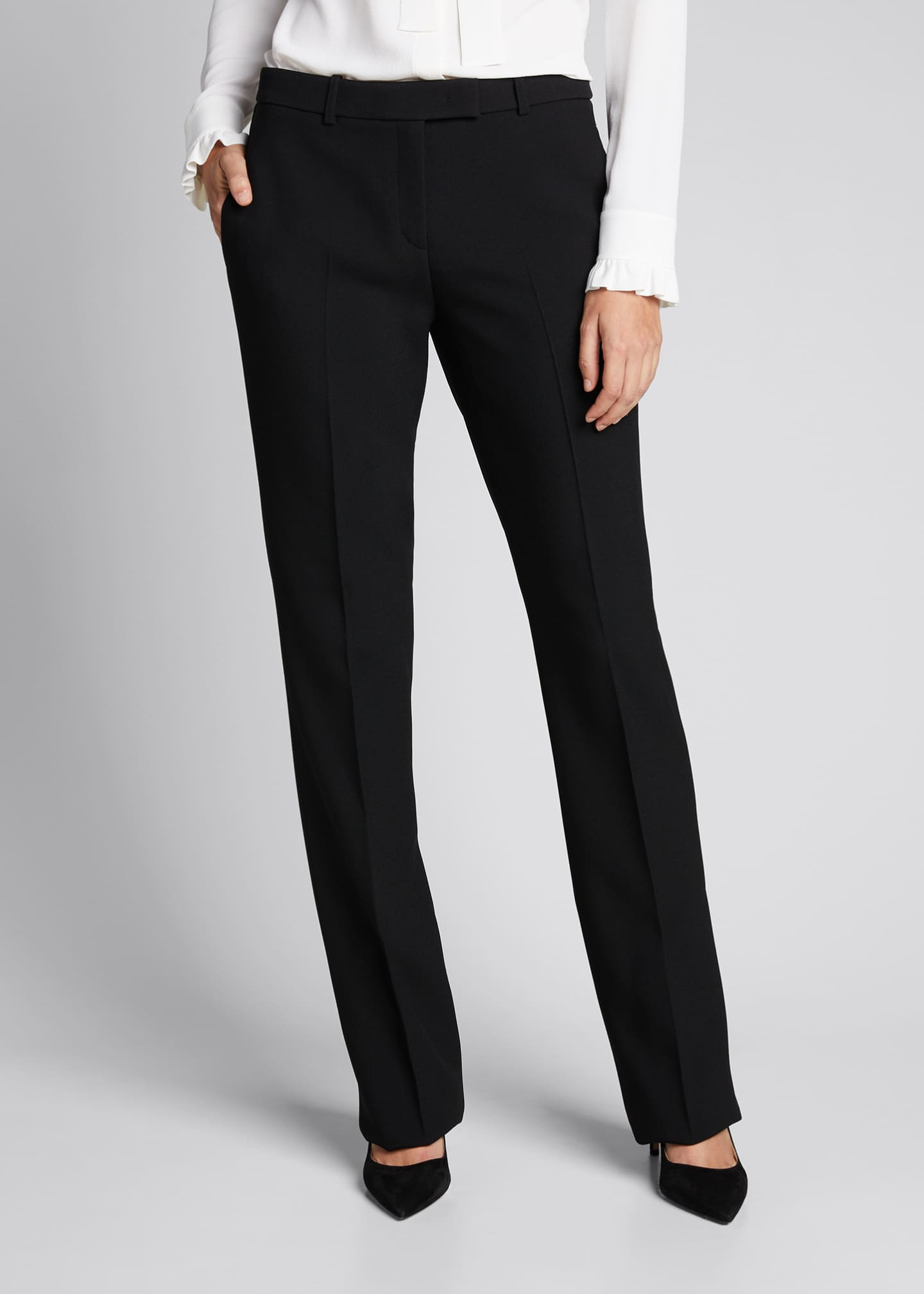 Image 3 of 5: Hansen Straight-Leg Crepe Trousers