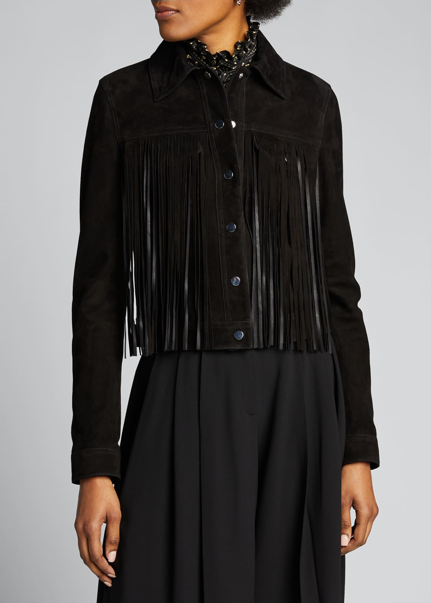 Image 3 of 5: Fringed Jean Jacket