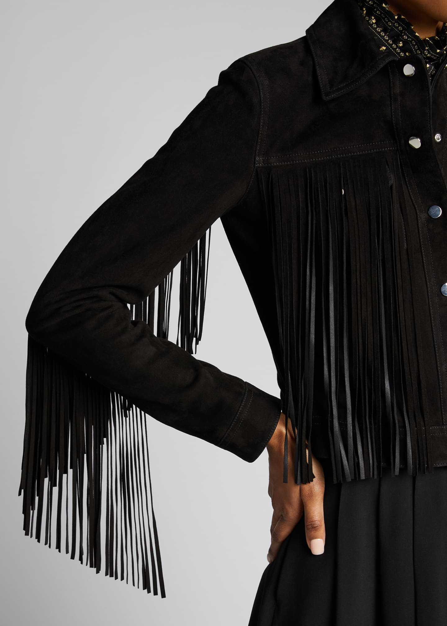 Image 4 of 5: Fringed Jean Jacket