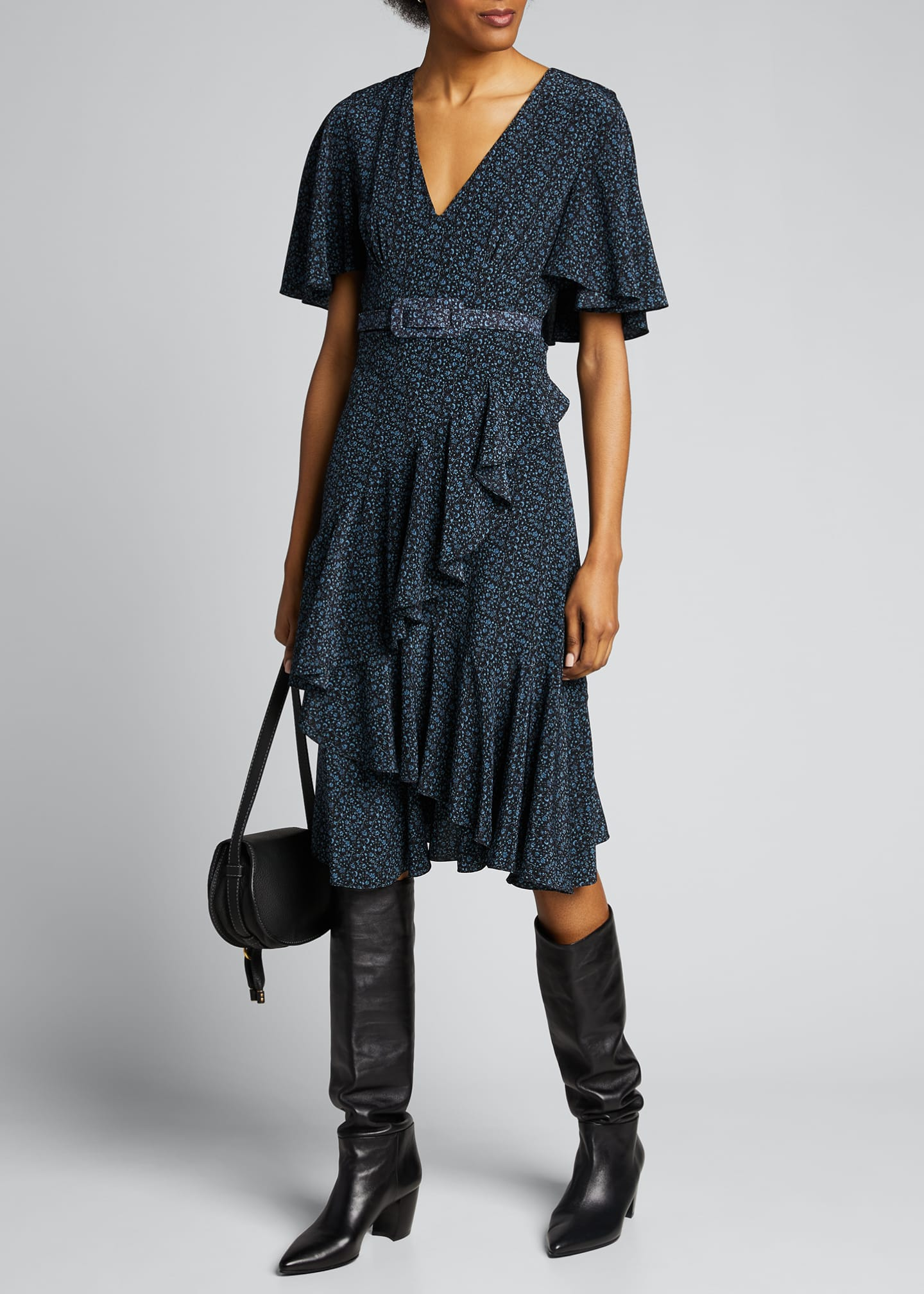 Image 1 of 5: Floral-Print Silk Caped Belted Dress