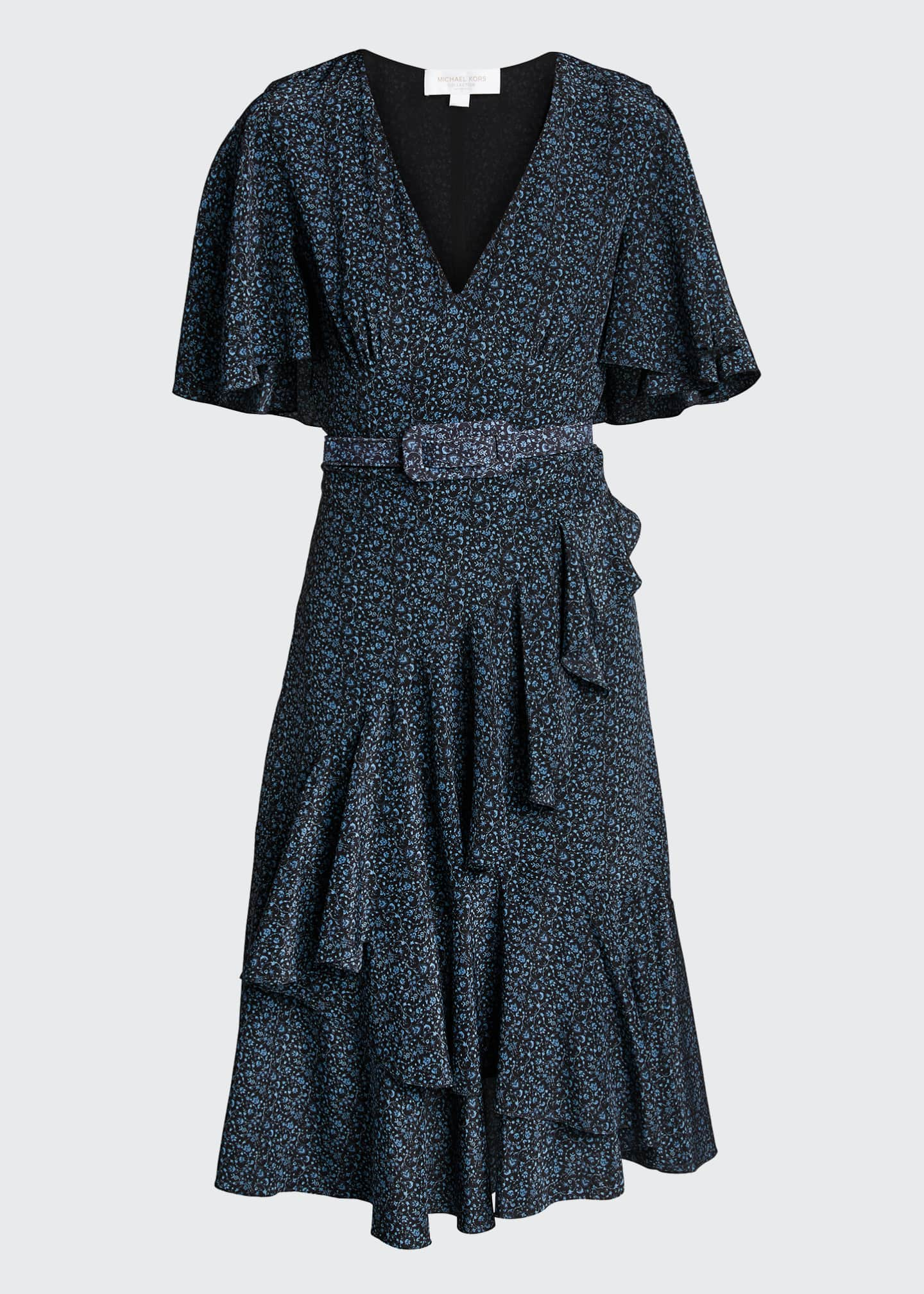 Image 5 of 5: Floral-Print Silk Caped Belted Dress