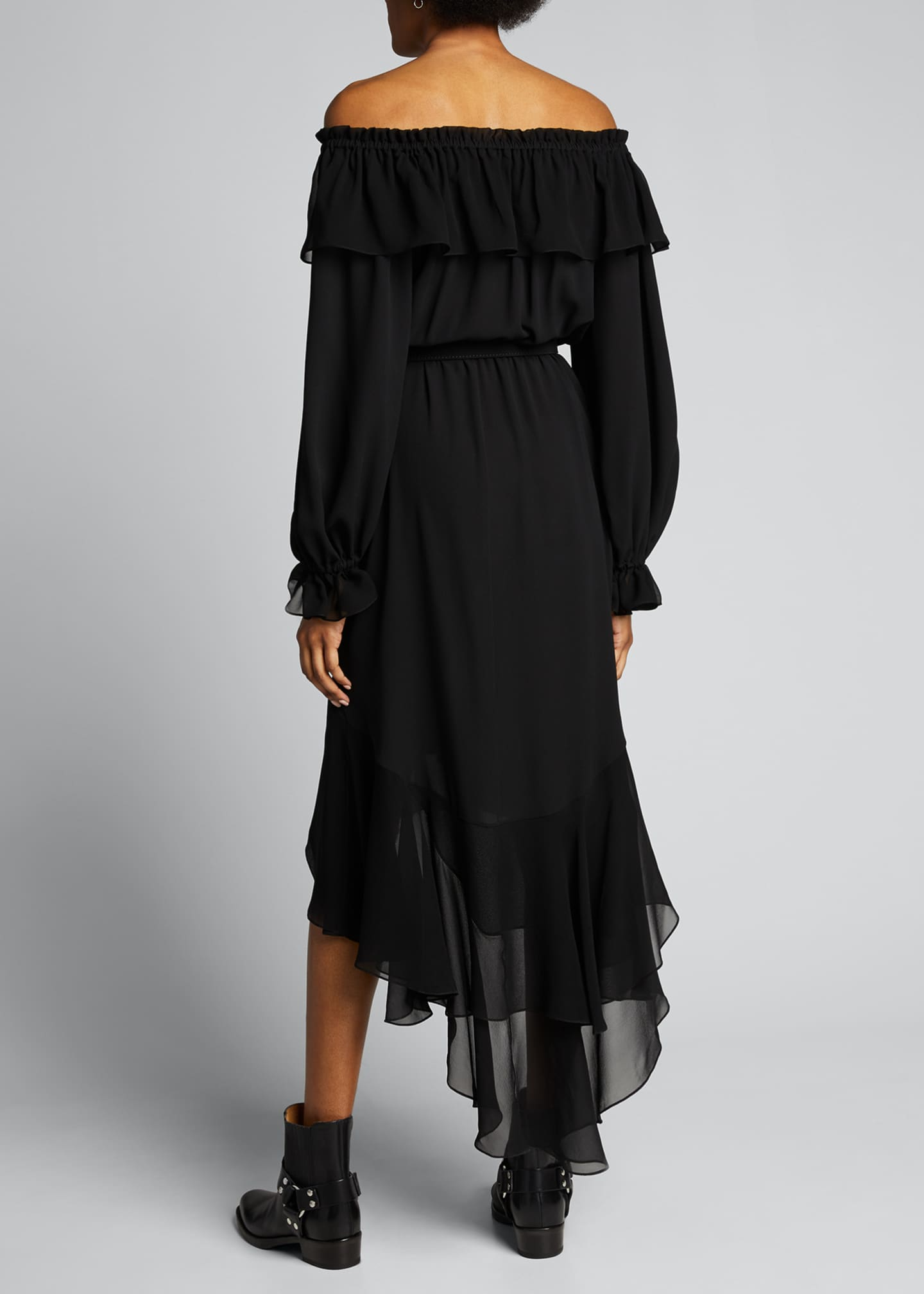 Image 2 of 4: Silk Off-the-Shoulder Belted Dress