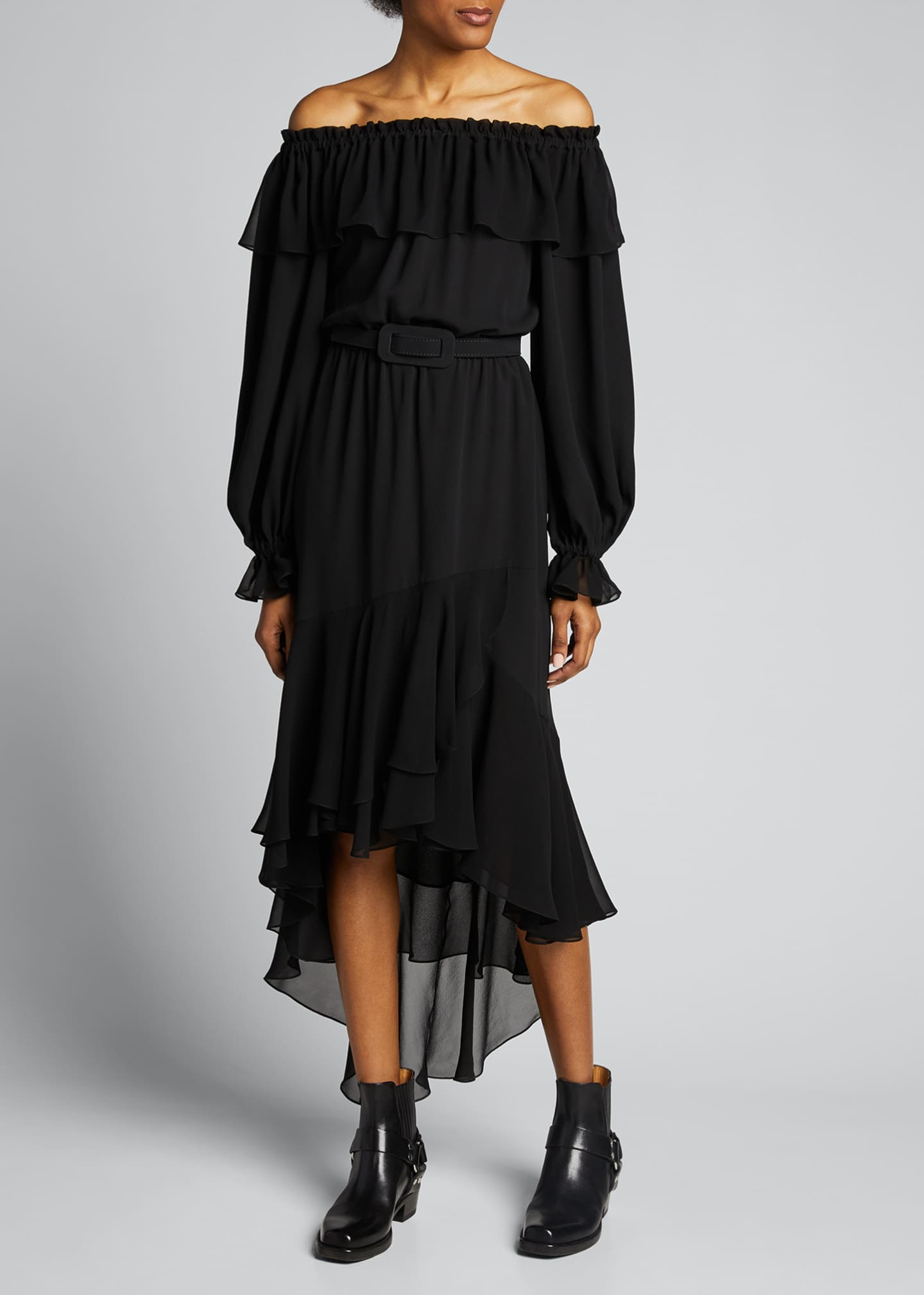 Image 3 of 4: Silk Off-the-Shoulder Belted Dress