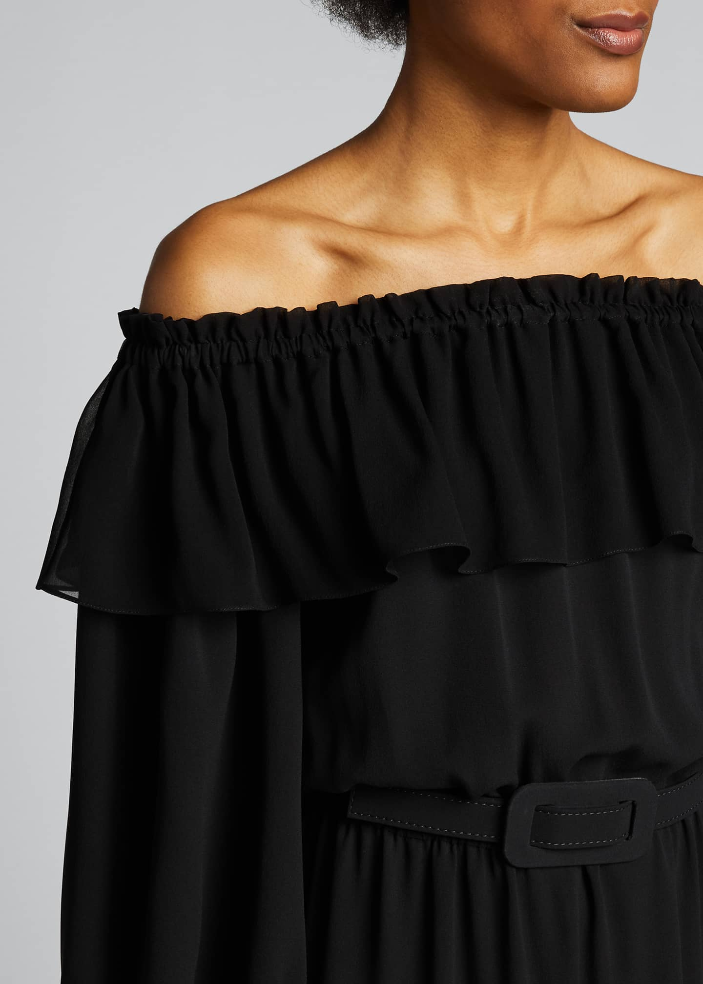 Image 4 of 4: Silk Off-the-Shoulder Belted Dress